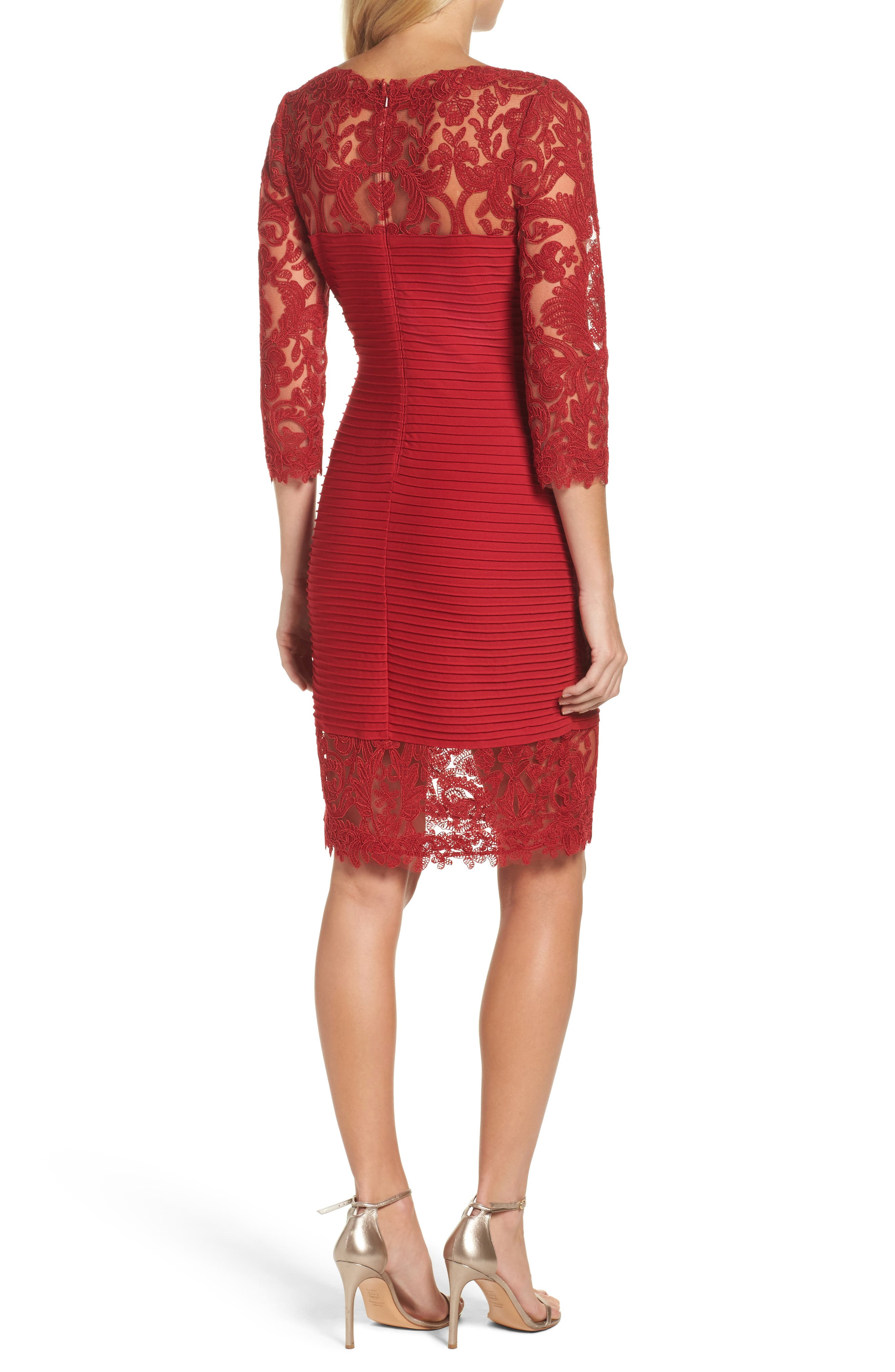 Illusion Pintuck Sheath Dress,                             Alternate thumbnail 2, color,                             Deep Red