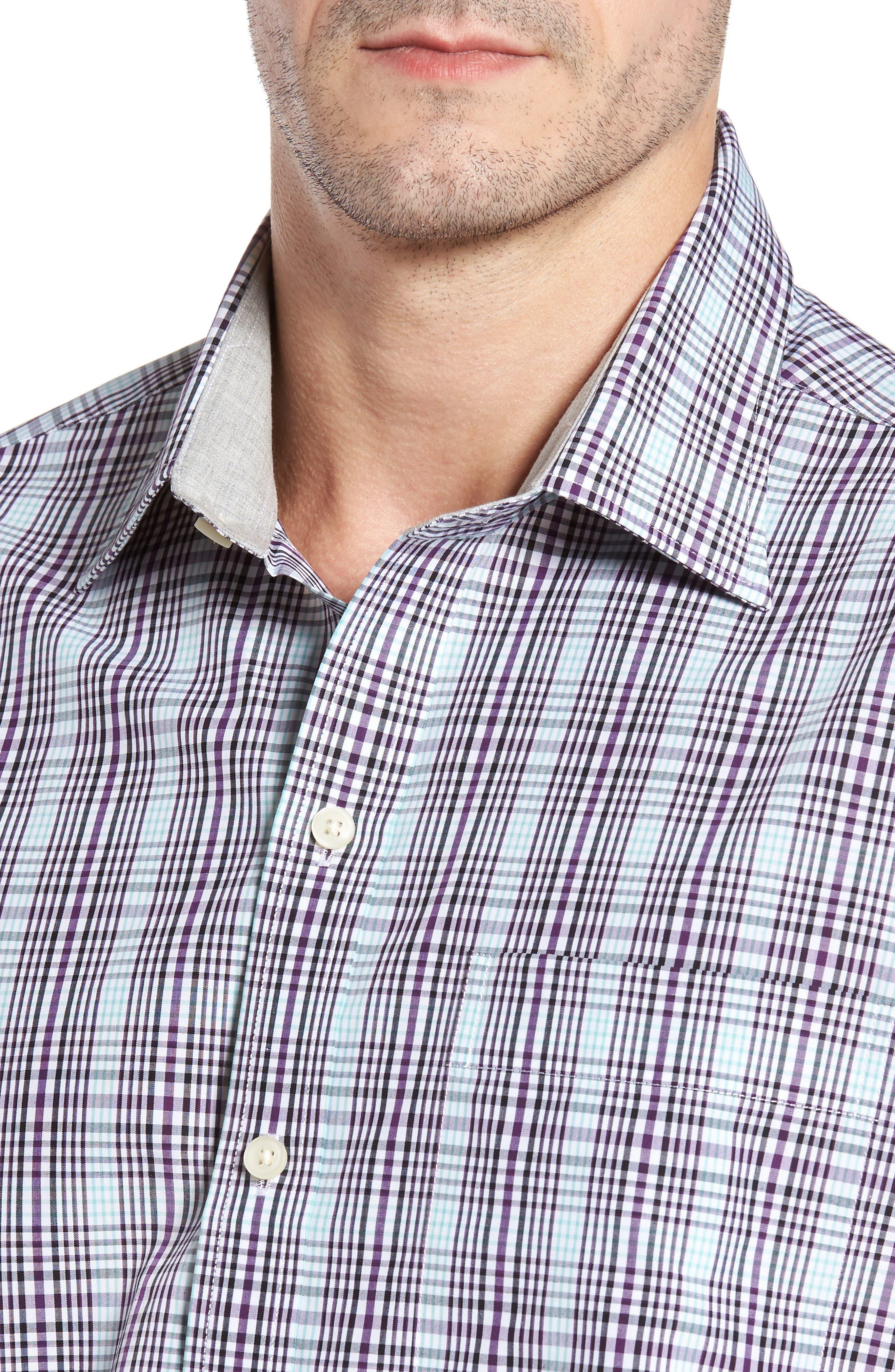 Hoyt Non-Iron Plaid Sport Shirt,                             Alternate thumbnail 4, color,                             Majesty