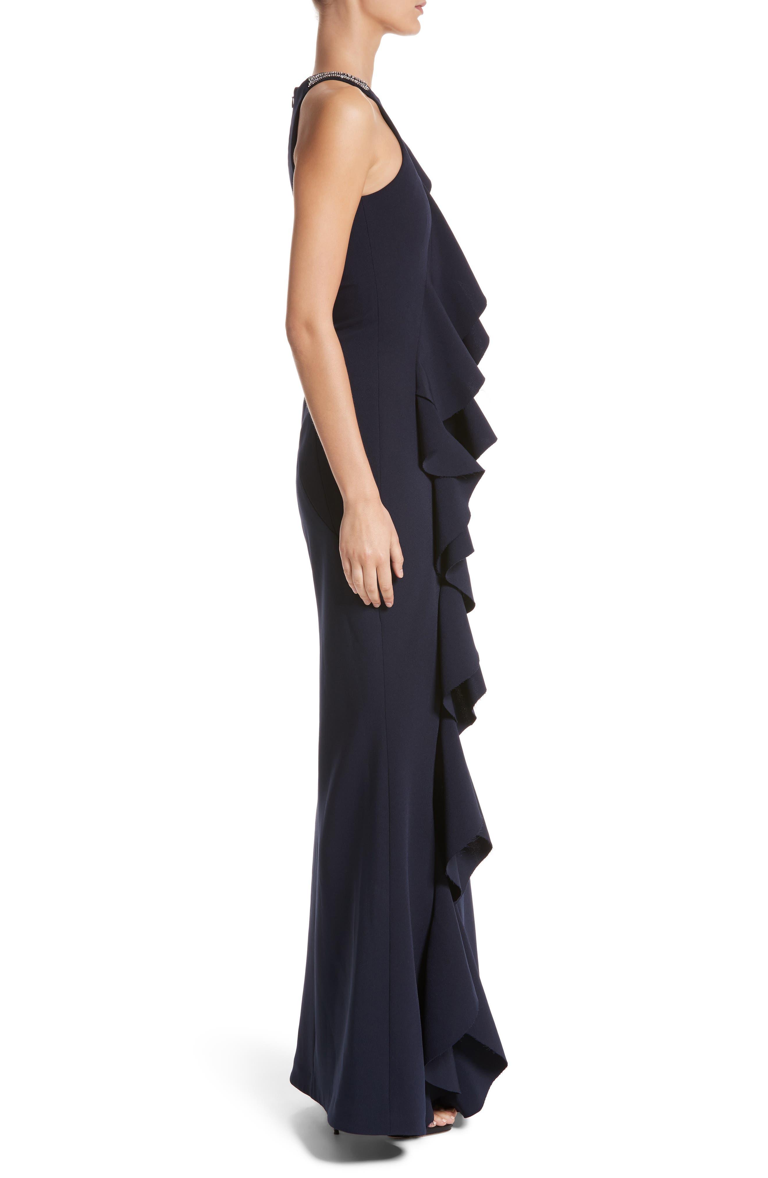 Alternate Image 3  - Rachel Gilbert Embellished Frill Front Crepe Gown