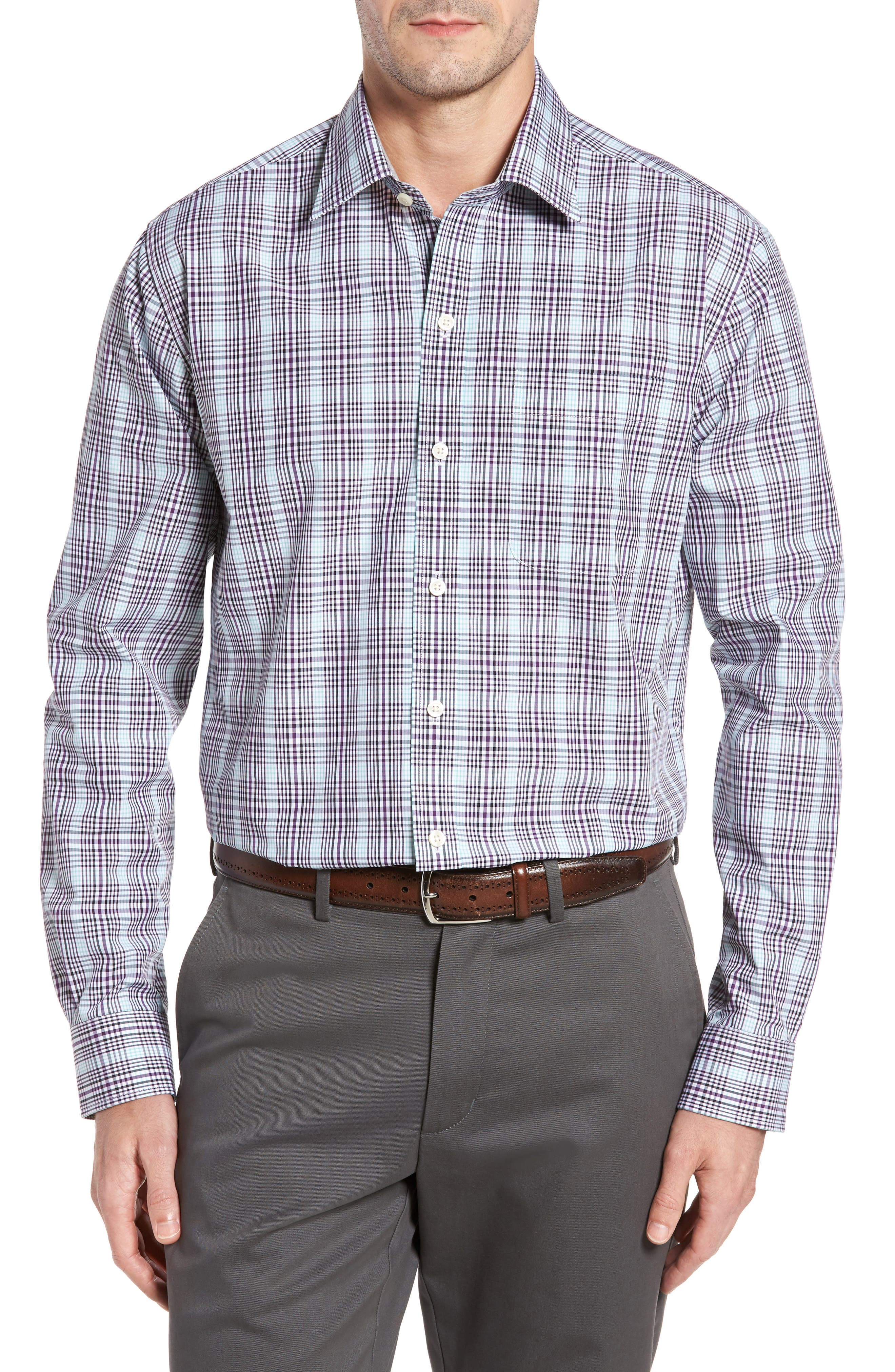 Hoyt Non-Iron Plaid Sport Shirt,                             Main thumbnail 1, color,                             Majesty