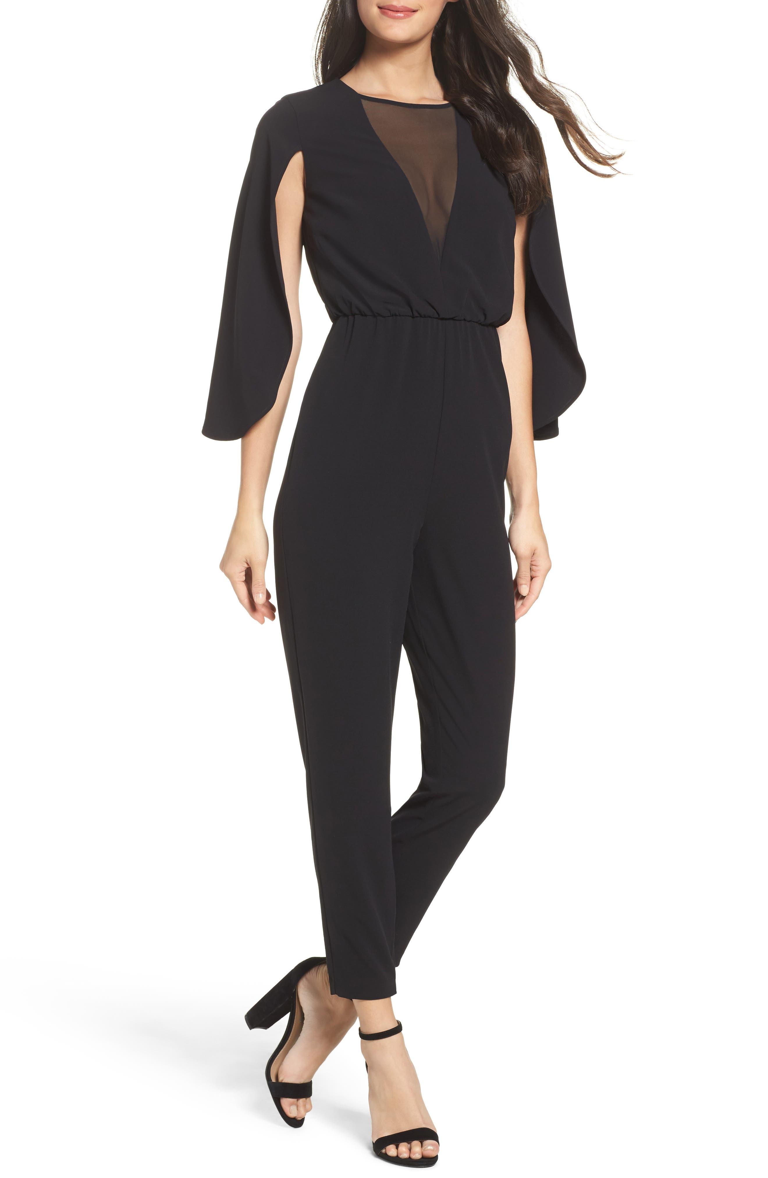 Cape Sleeve Jumpsuit,                         Main,                         color, Black