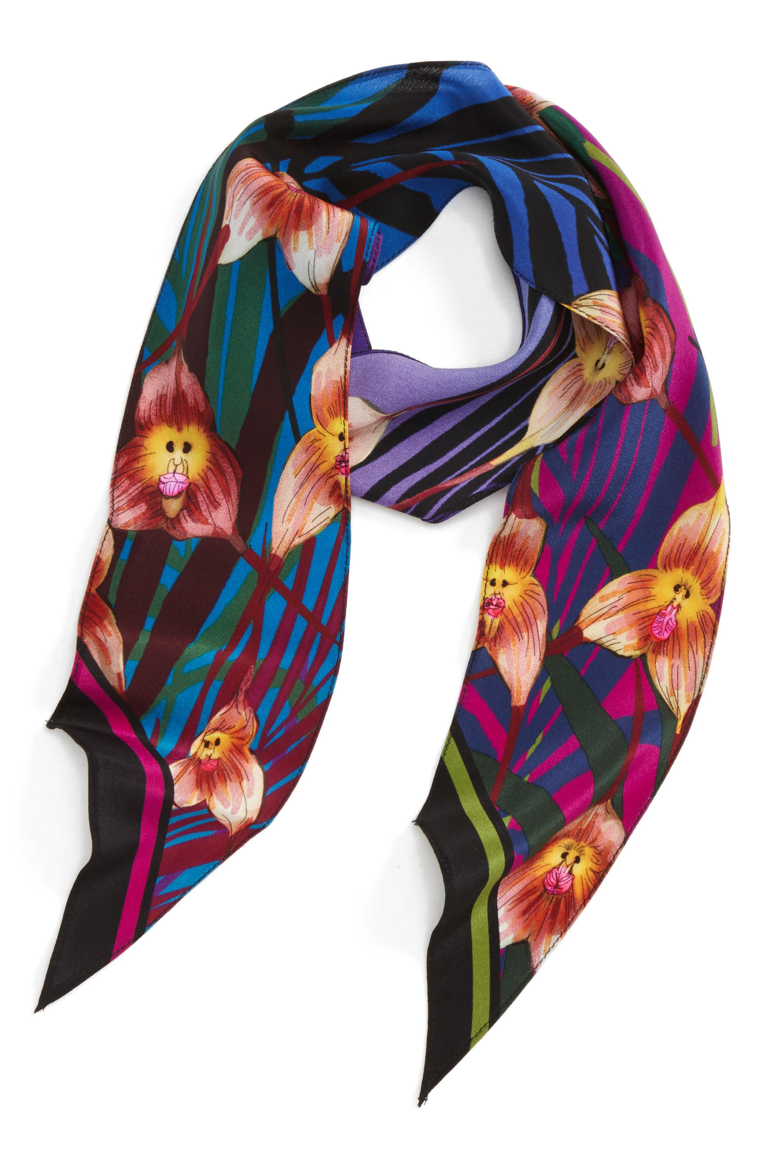 ROCKINS Monkey Orchid Skinny Silk Scarf