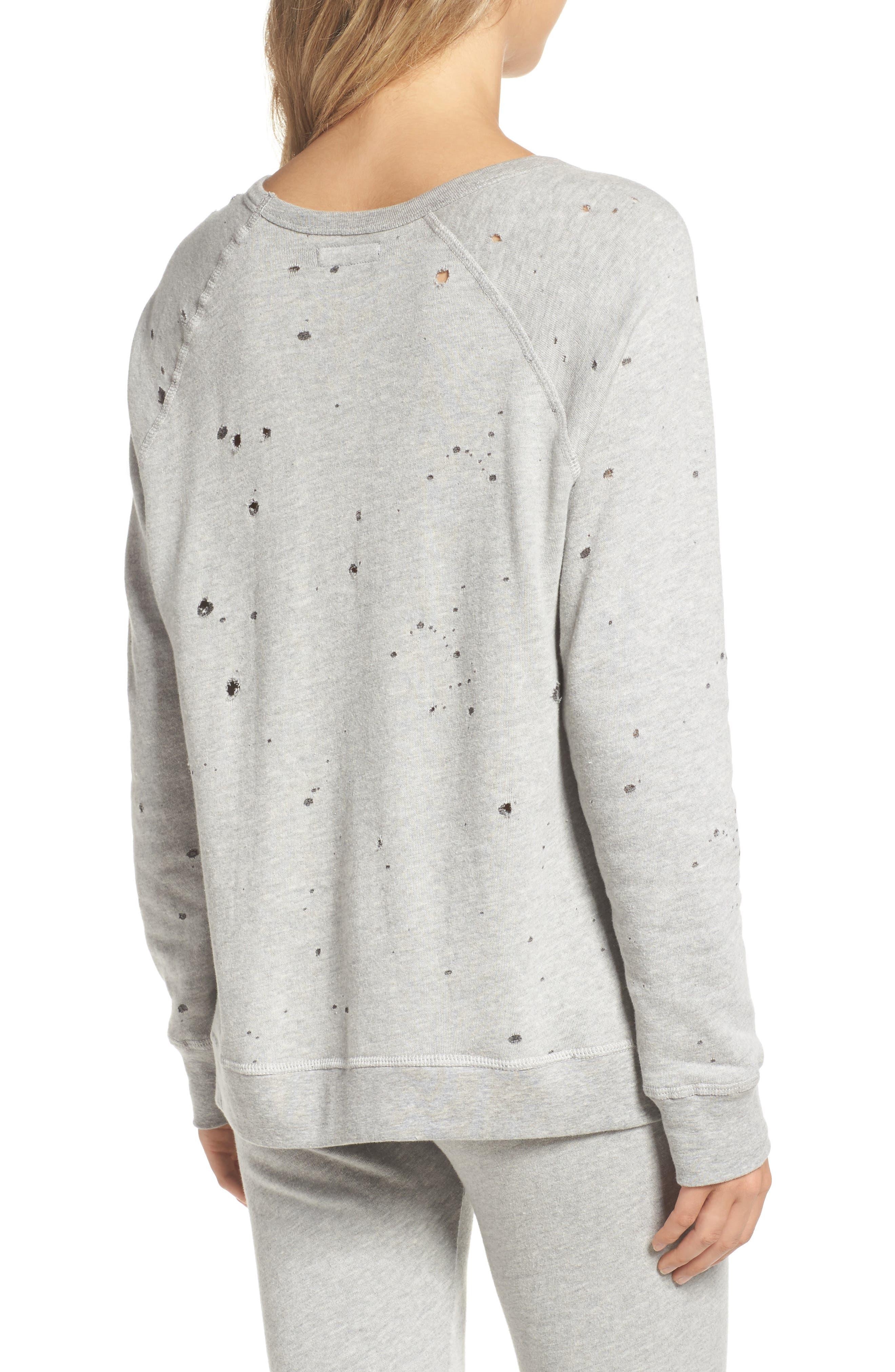 Destroyed Lounge Sweatshirt,                             Alternate thumbnail 2, color,                             Heather Grey