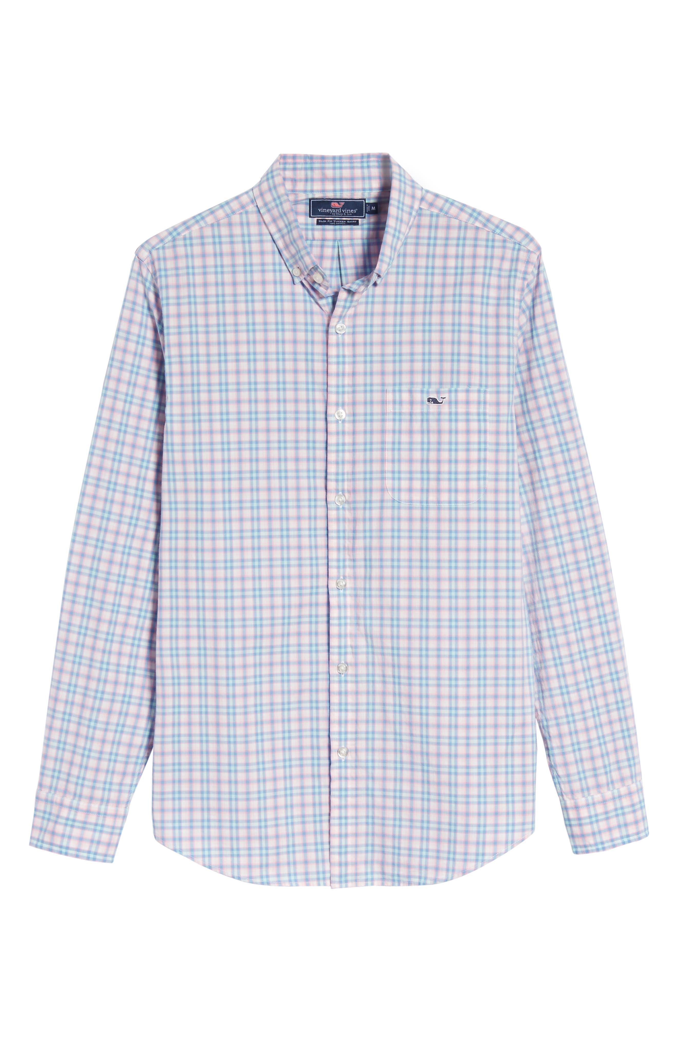 Hamlets Port Plaid Tucker Slim Fit Sport Shirt,                             Alternate thumbnail 6, color,                             Flamingo