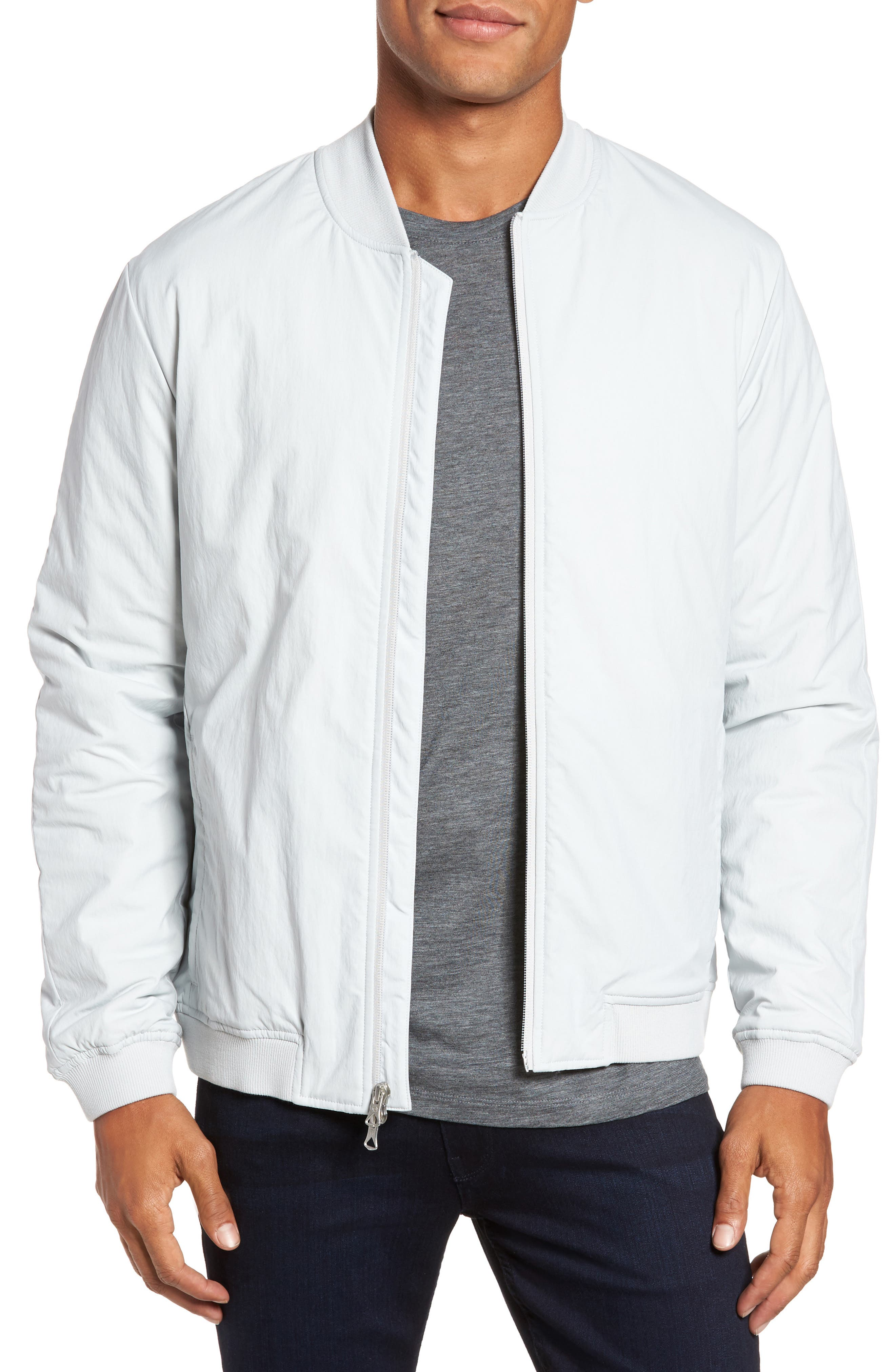 Insulated Bomber Jacket,                         Main,                         color, Sky Grey
