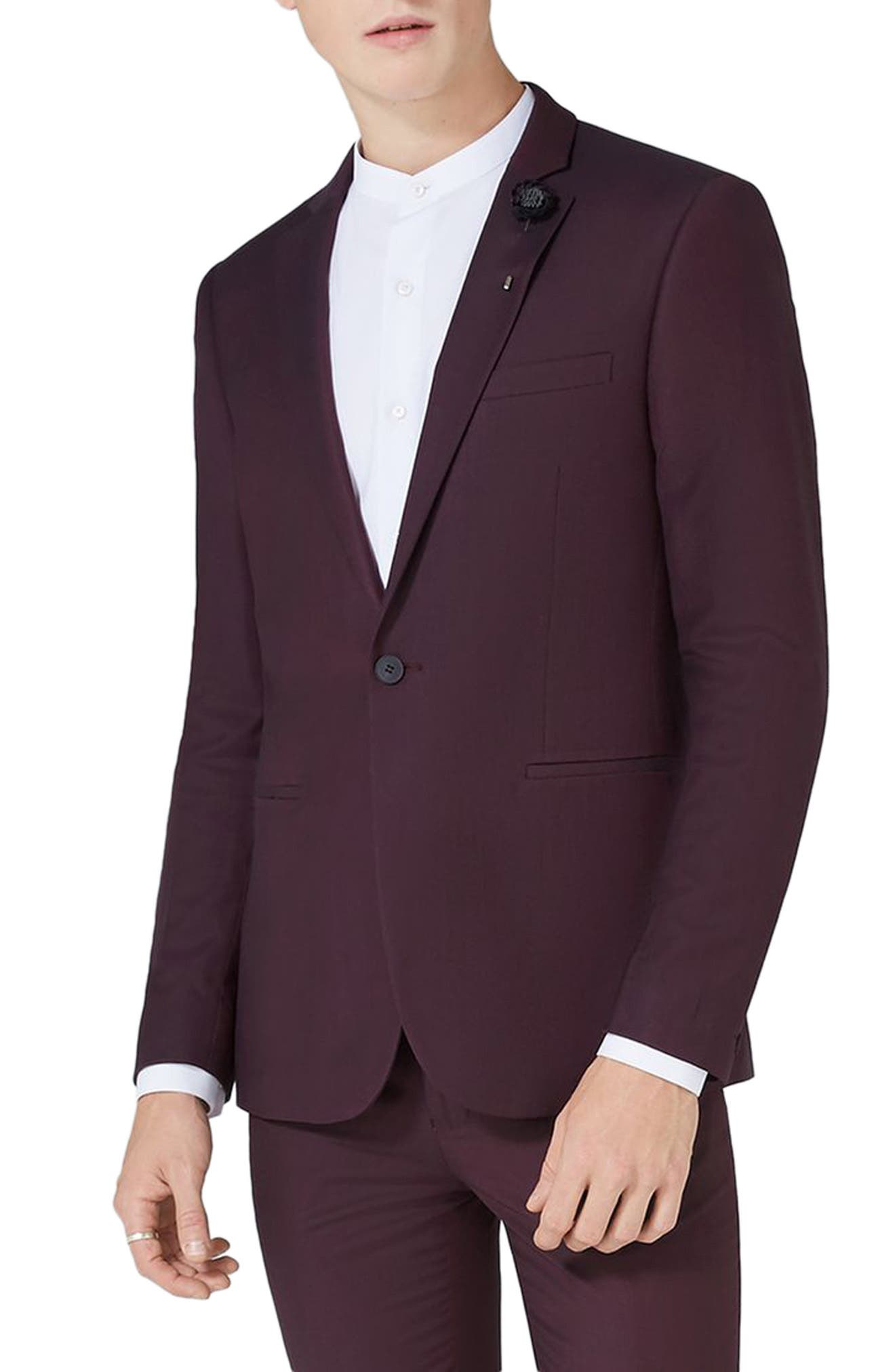 Skinny Fit Plum One-Button Suit Jacket,                             Main thumbnail 1, color,                             Plum