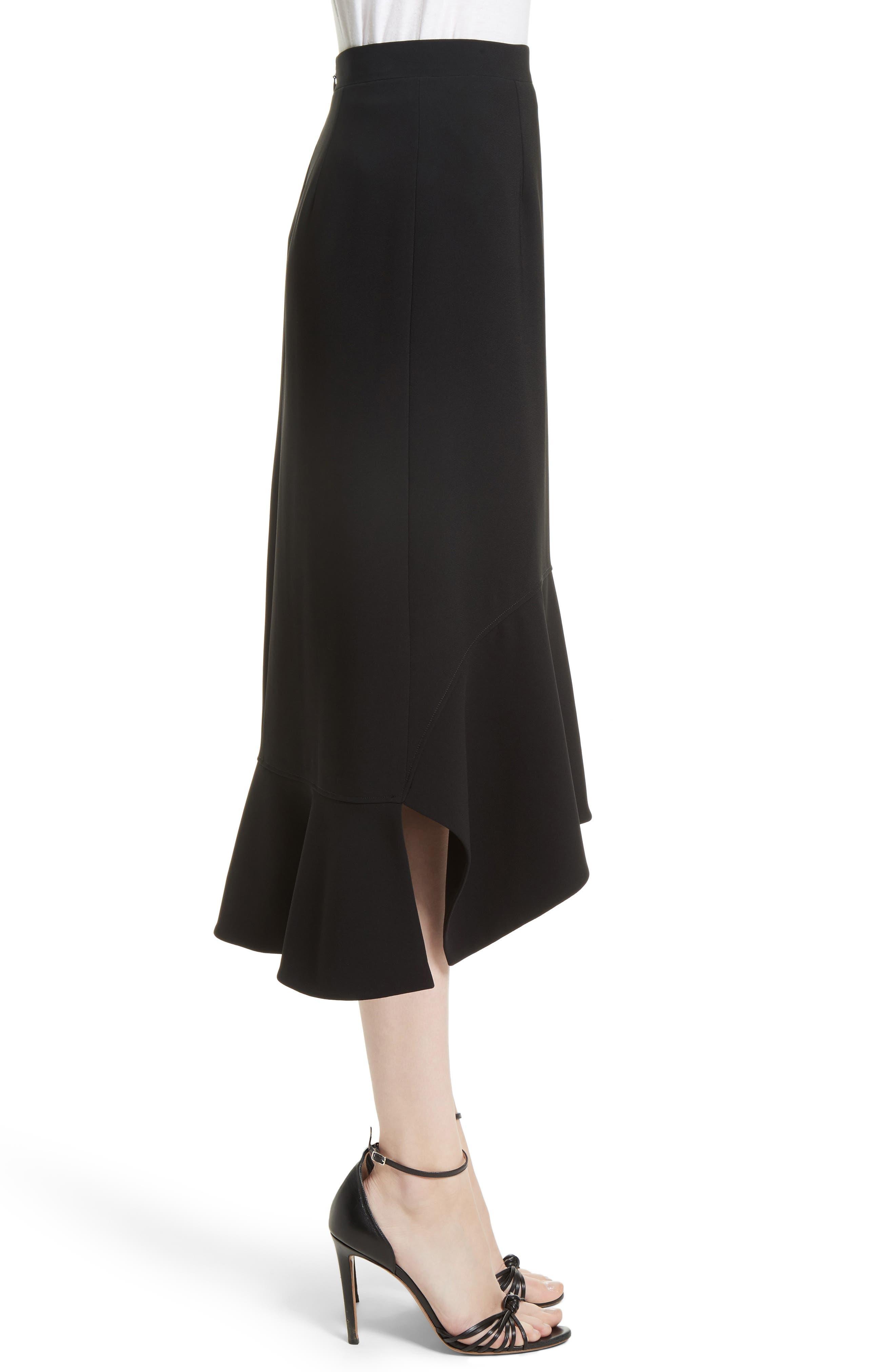 Drape Hem Midi Skirt,                             Alternate thumbnail 3, color,                             Black