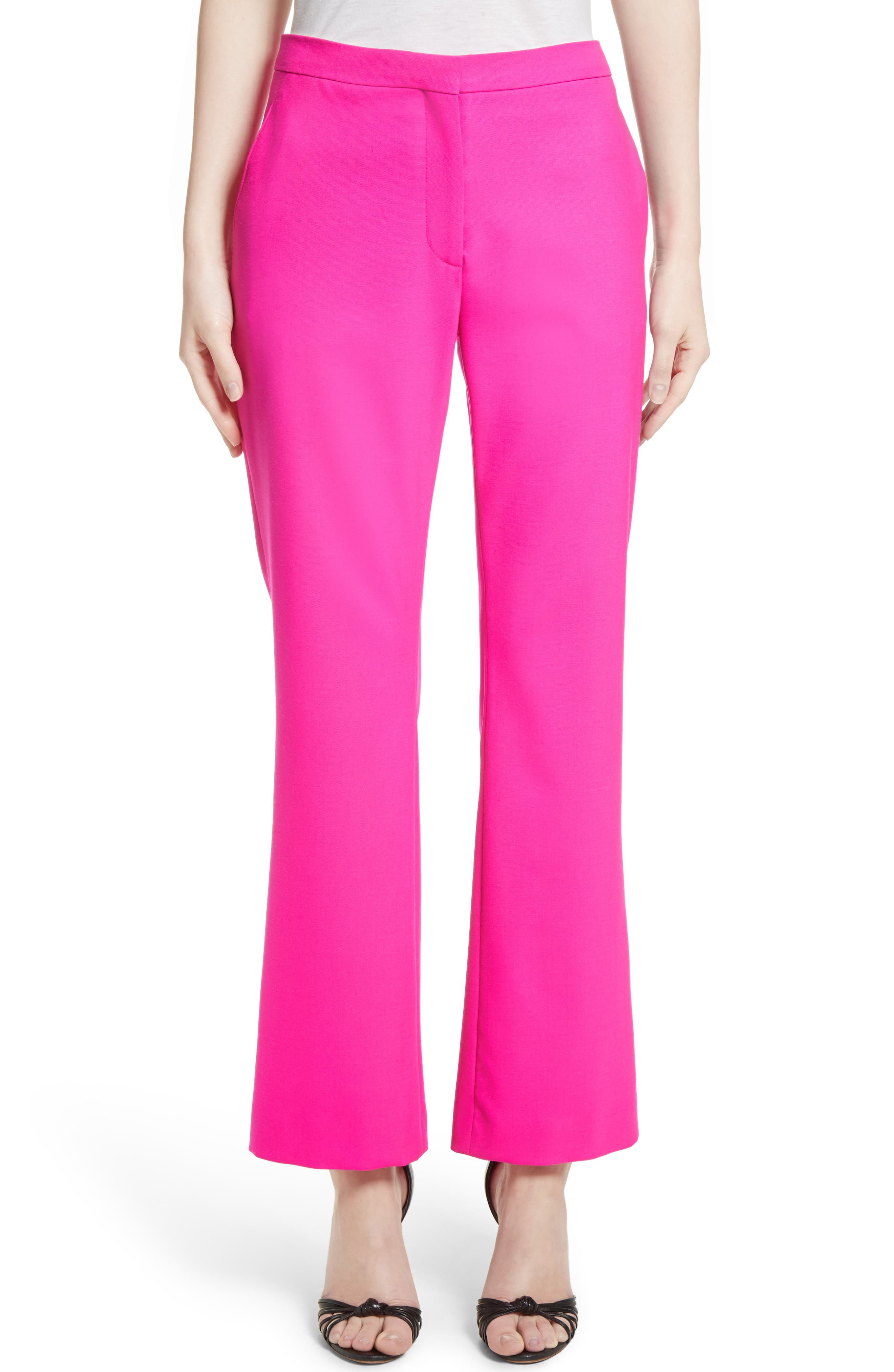 Stretch Wool Crop Flare Pants,                         Main,                         color, Hibiscus