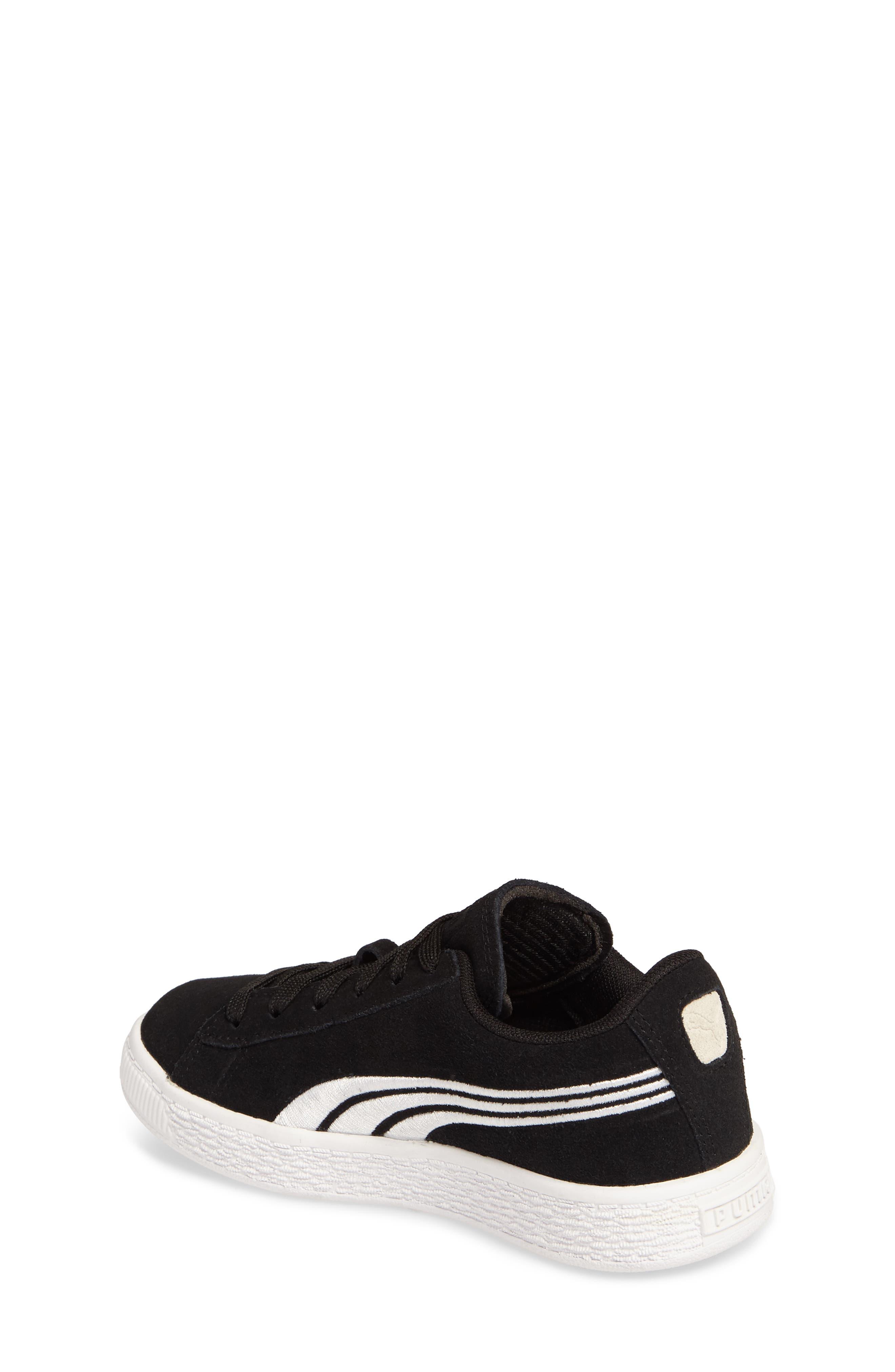 Suede Classic Badge Sneaker,                             Alternate thumbnail 2, color,                             Black