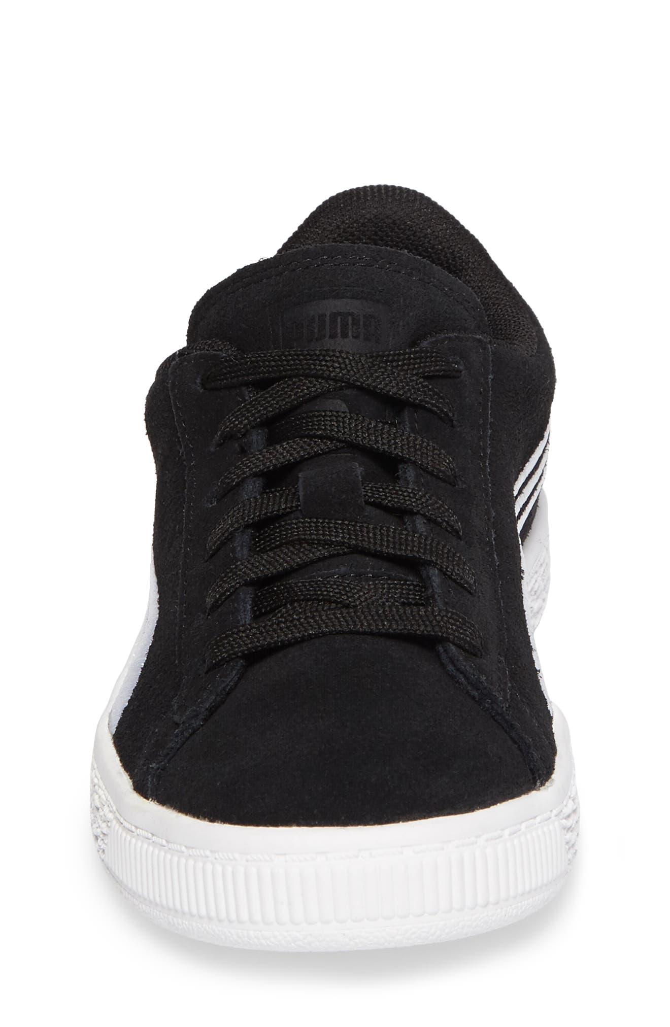 Suede Classic Badge Sneaker,                             Alternate thumbnail 4, color,                             Black