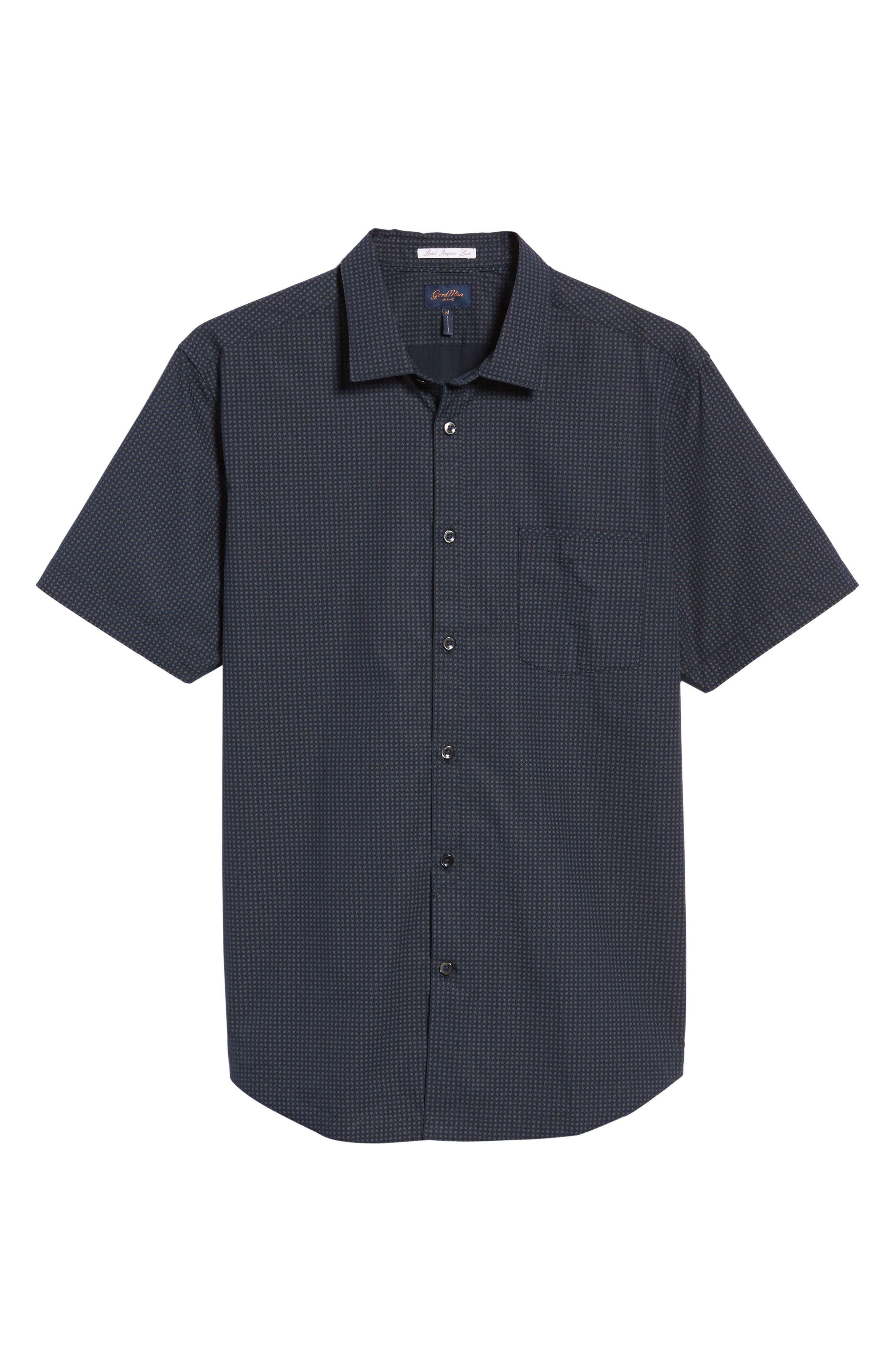 Slim Fit Print Sport Shirt,                             Alternate thumbnail 6, color,                             Navy