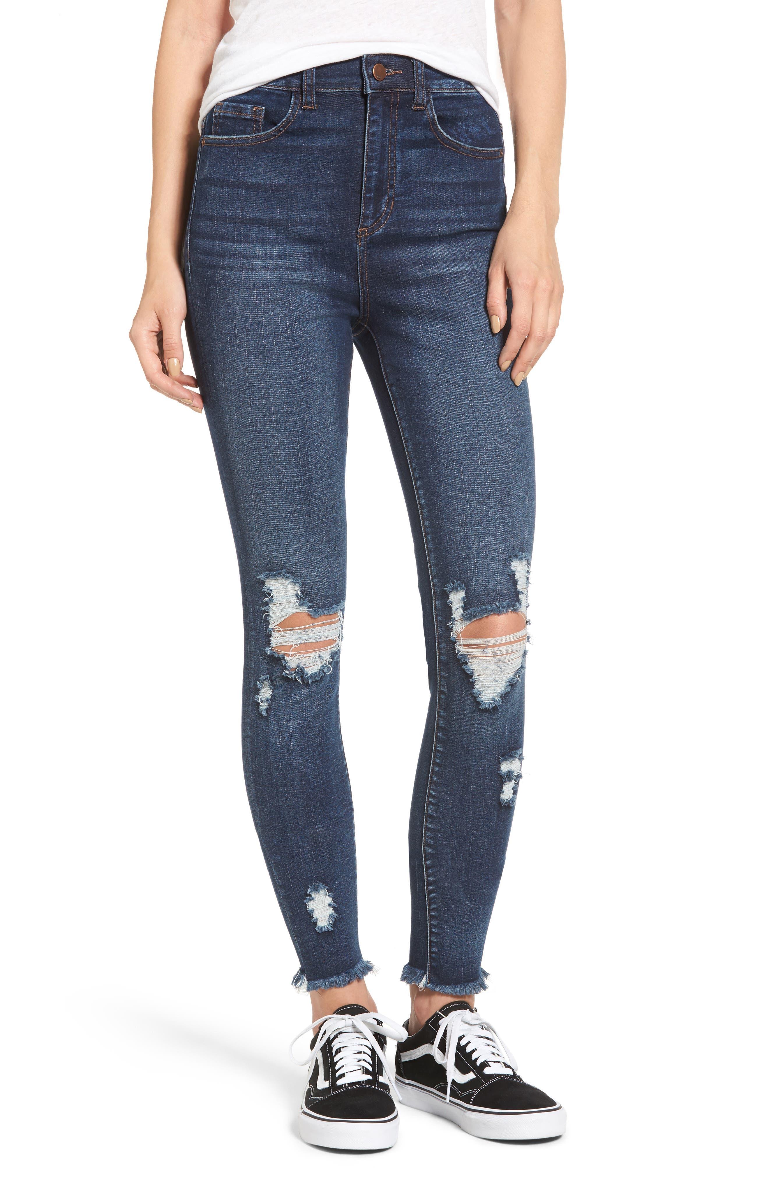 Distressed High Waist Skinny Jeans,                         Main,                         color, Dark Blue