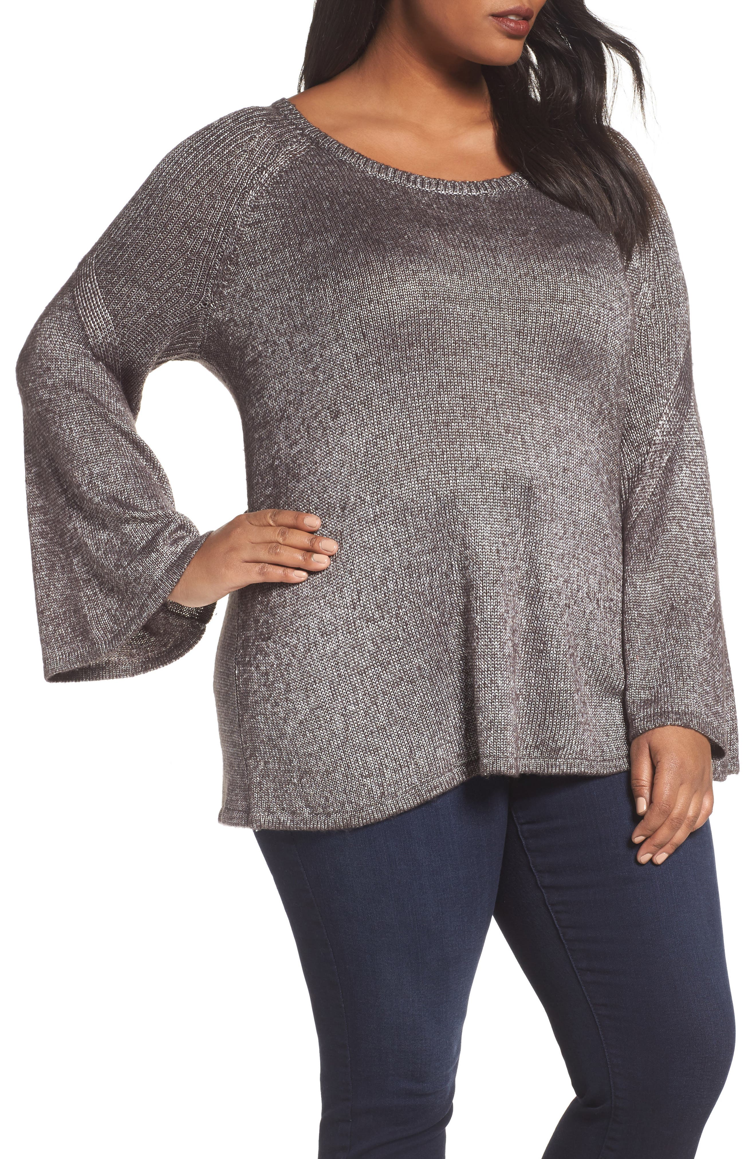Bell Sleeve Sweater,                             Main thumbnail 1, color,                             Black- Silver Metallic