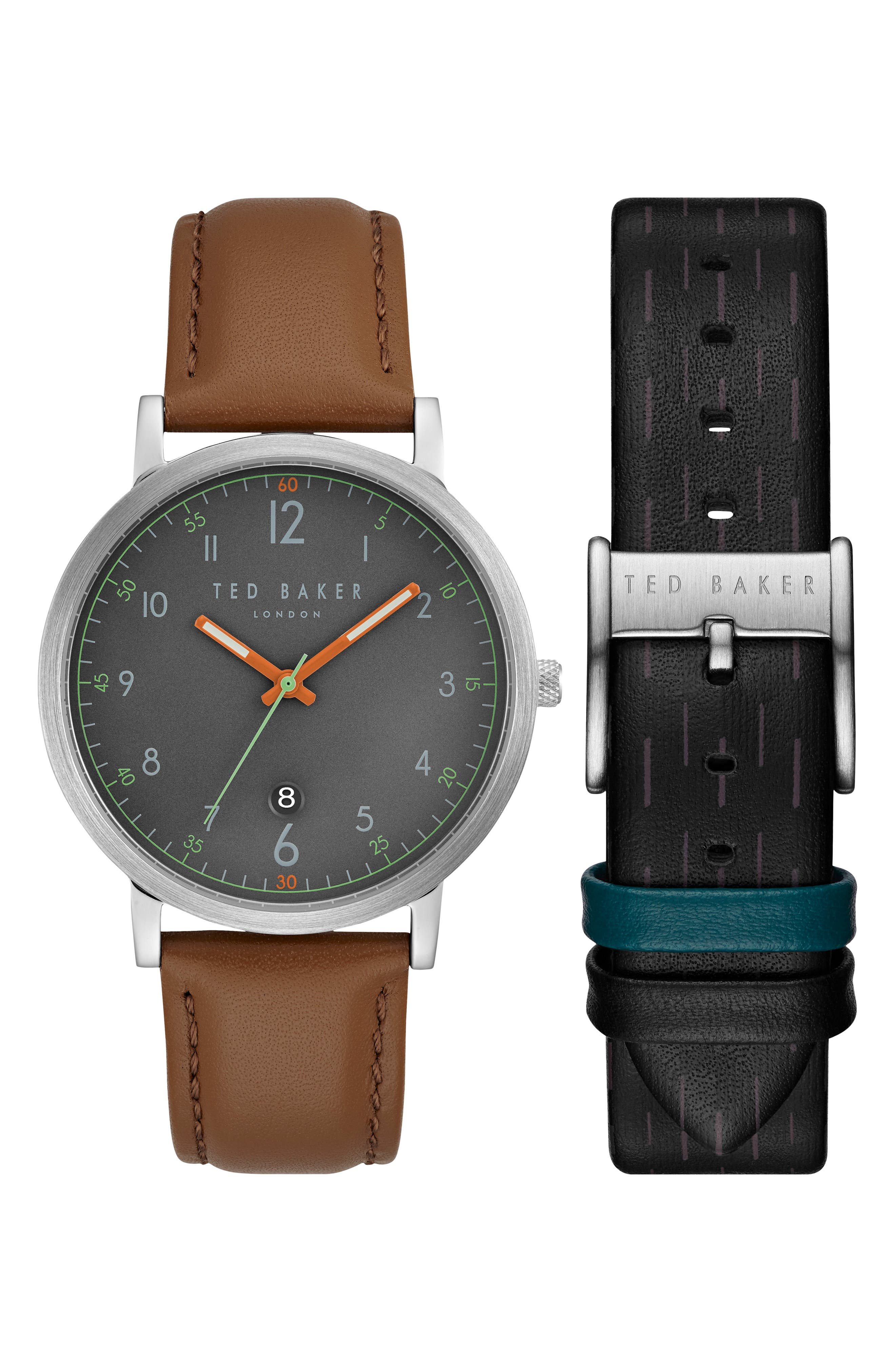 Ted Baker London David Watch & Leather Strap Set, 40mm