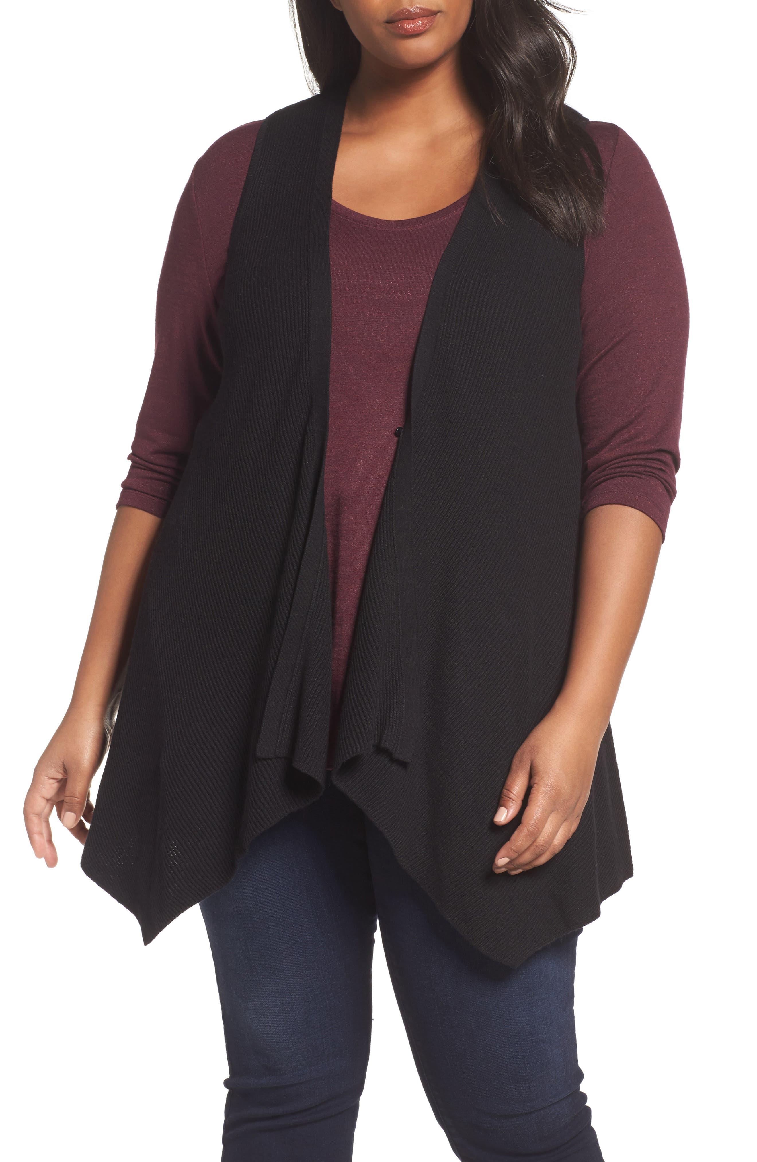 Detachable Faux Fur Trim Vest,                             Alternate thumbnail 4, color,                             Black