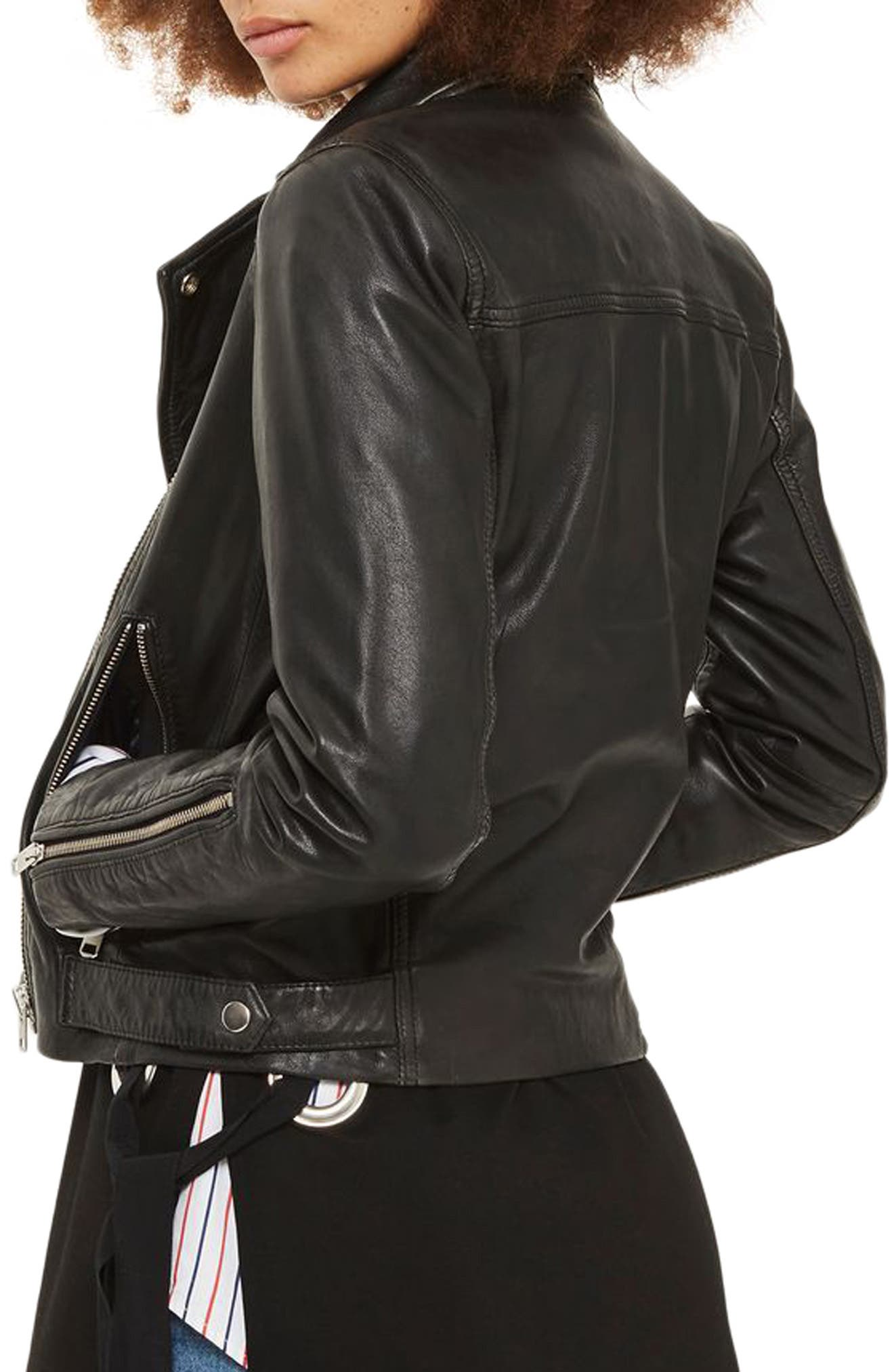 Lucky Leather Biker Jacket,                             Alternate thumbnail 2, color,                             Black