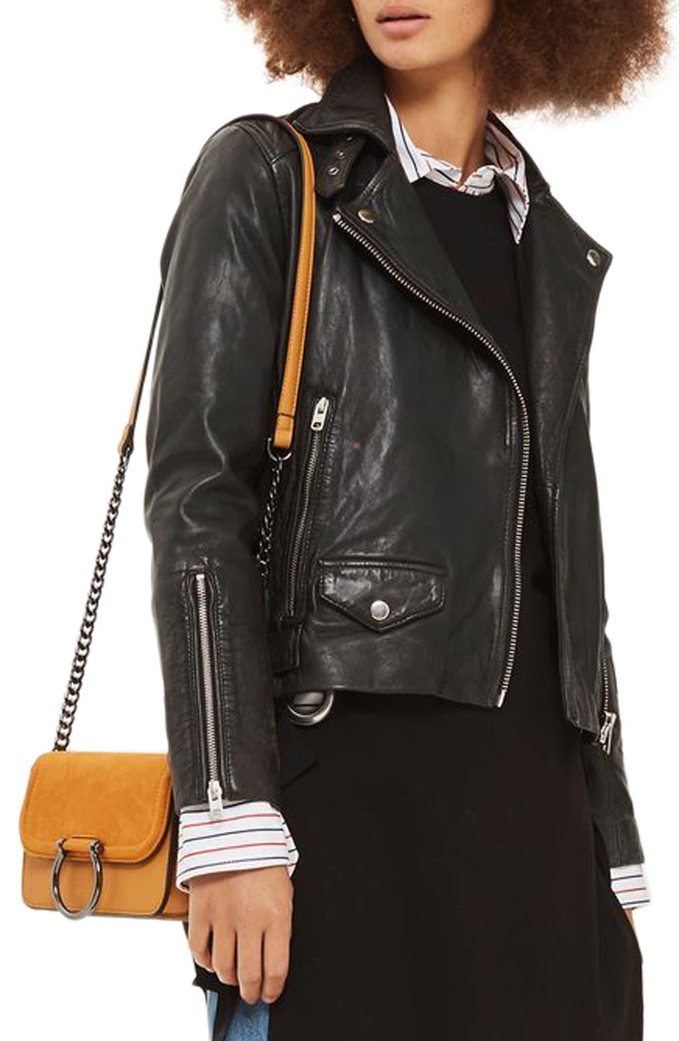 Lucky Leather Biker Jacket,                             Main thumbnail 1, color,                             Black