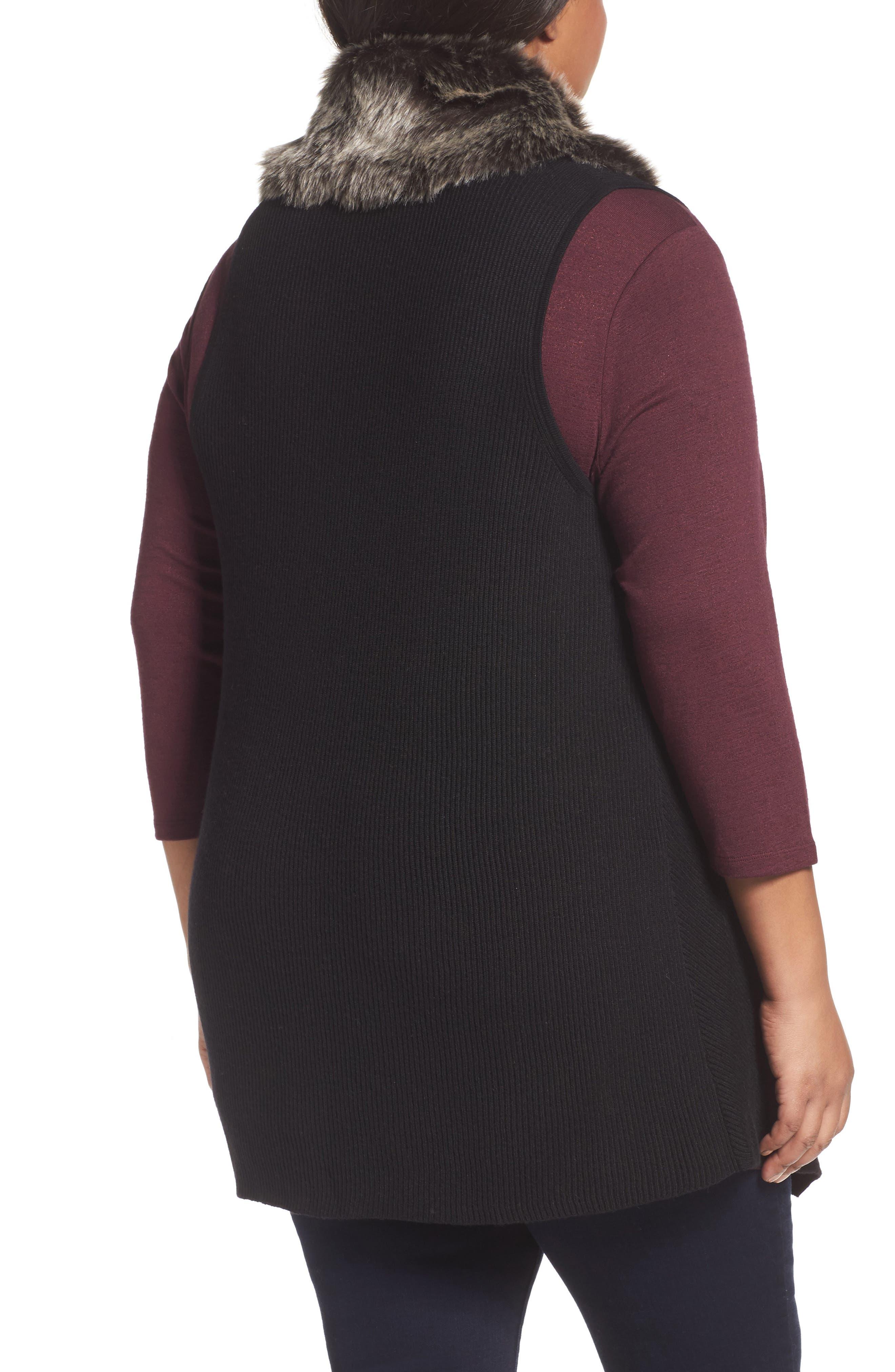 Detachable Faux Fur Trim Vest,                             Alternate thumbnail 2, color,                             Black