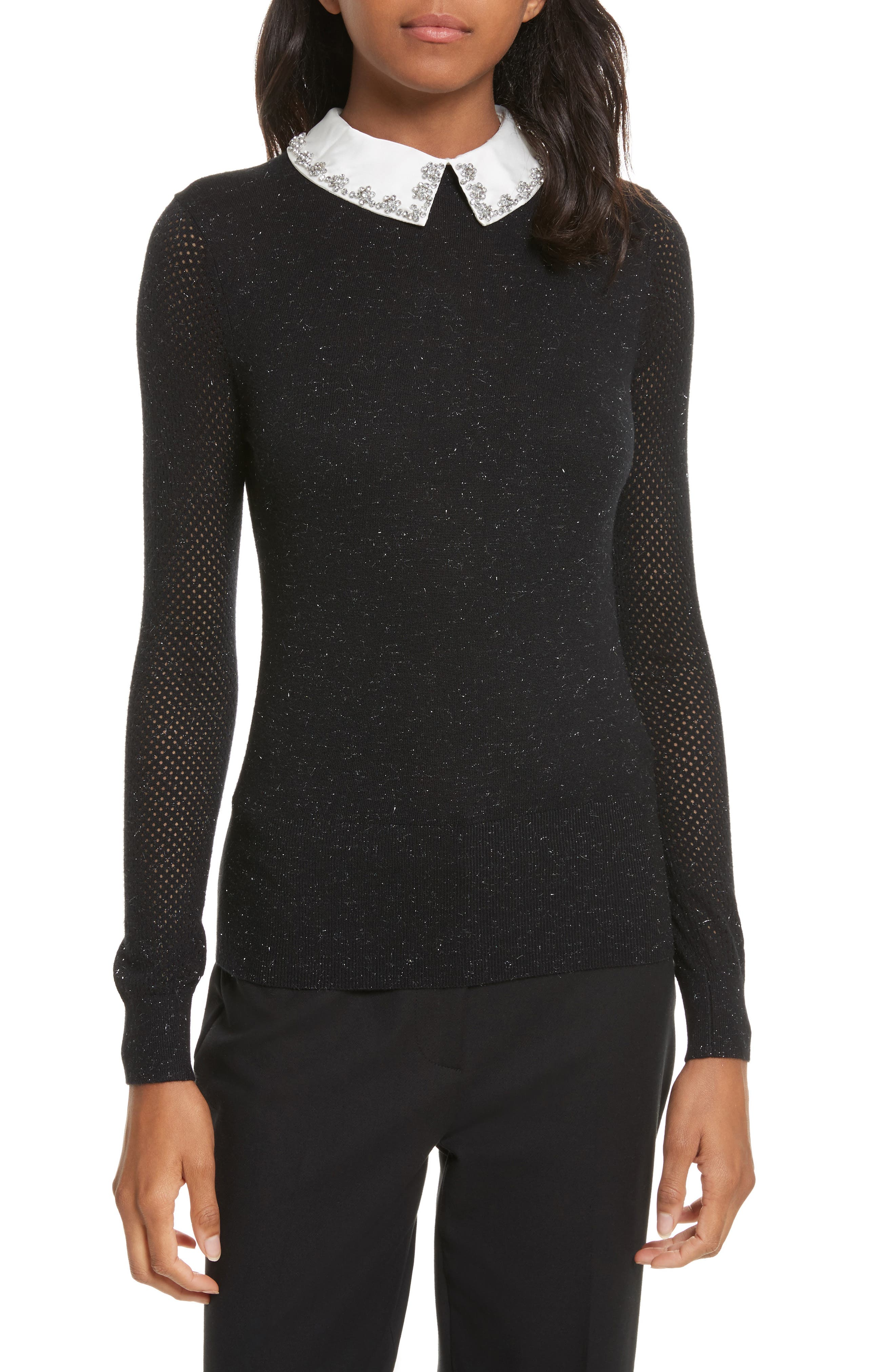 Ted Baker London Embellished Collar Sparkle Sweater