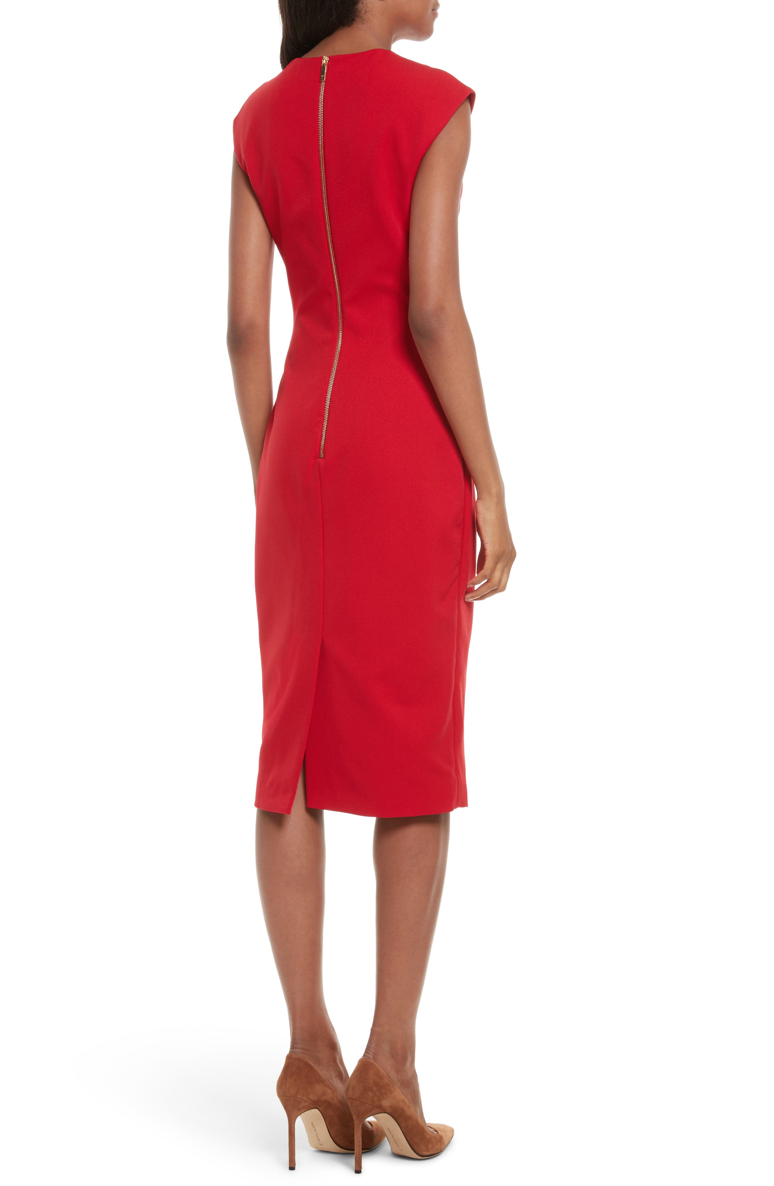 Kezzia Bow Neck Body-Con Dress,                             Alternate thumbnail 2, color,                             Bright Red
