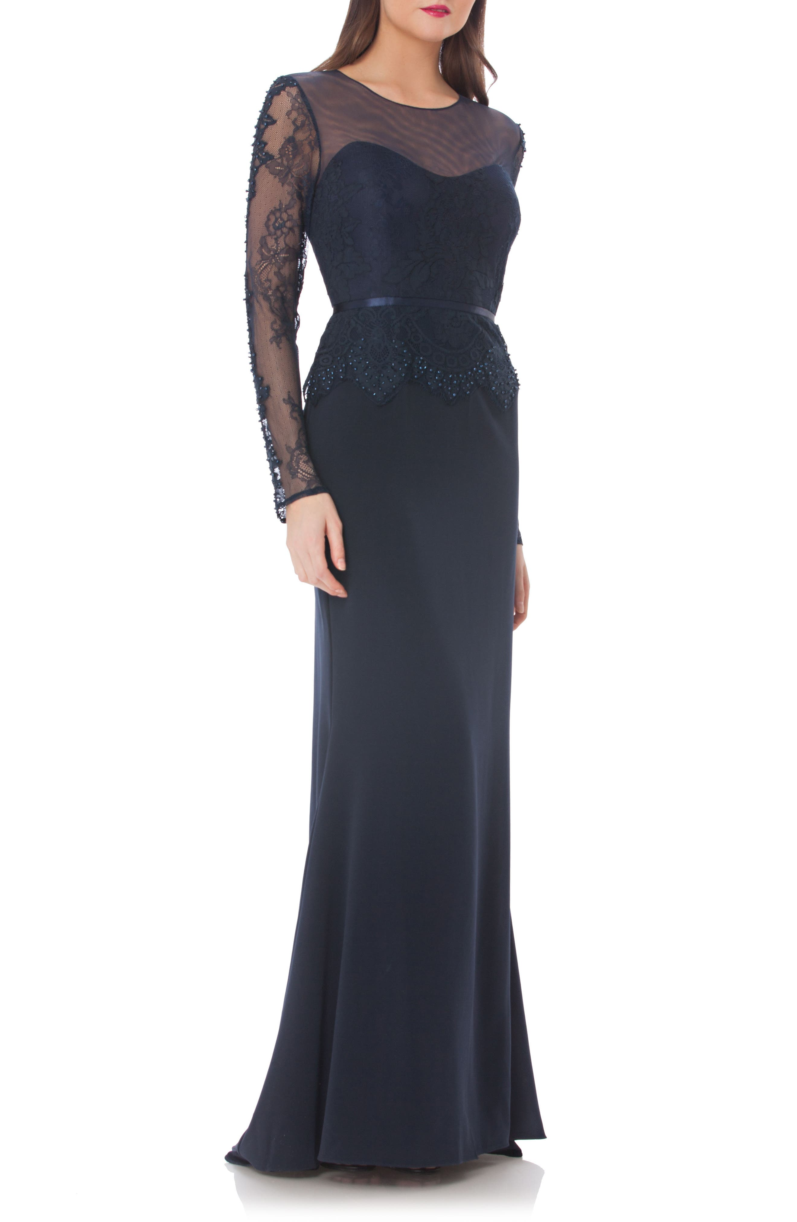 Embellished Crepe Mermaid Gown,                             Main thumbnail 1, color,                             Navy