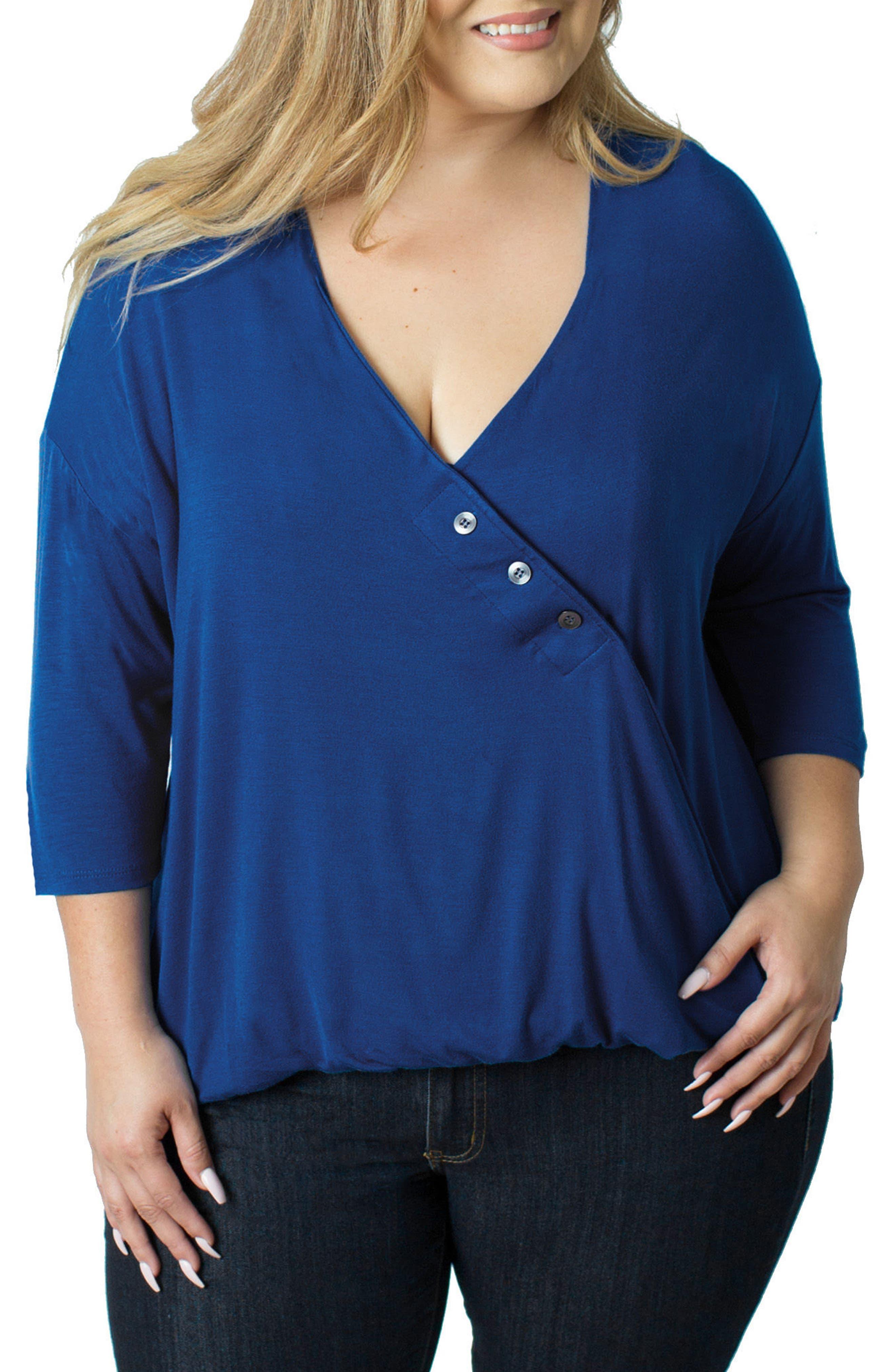 Alternate Image 1 Selected - Udderly Hot Mama Button V-Neck Nursing Top (Plus Size)