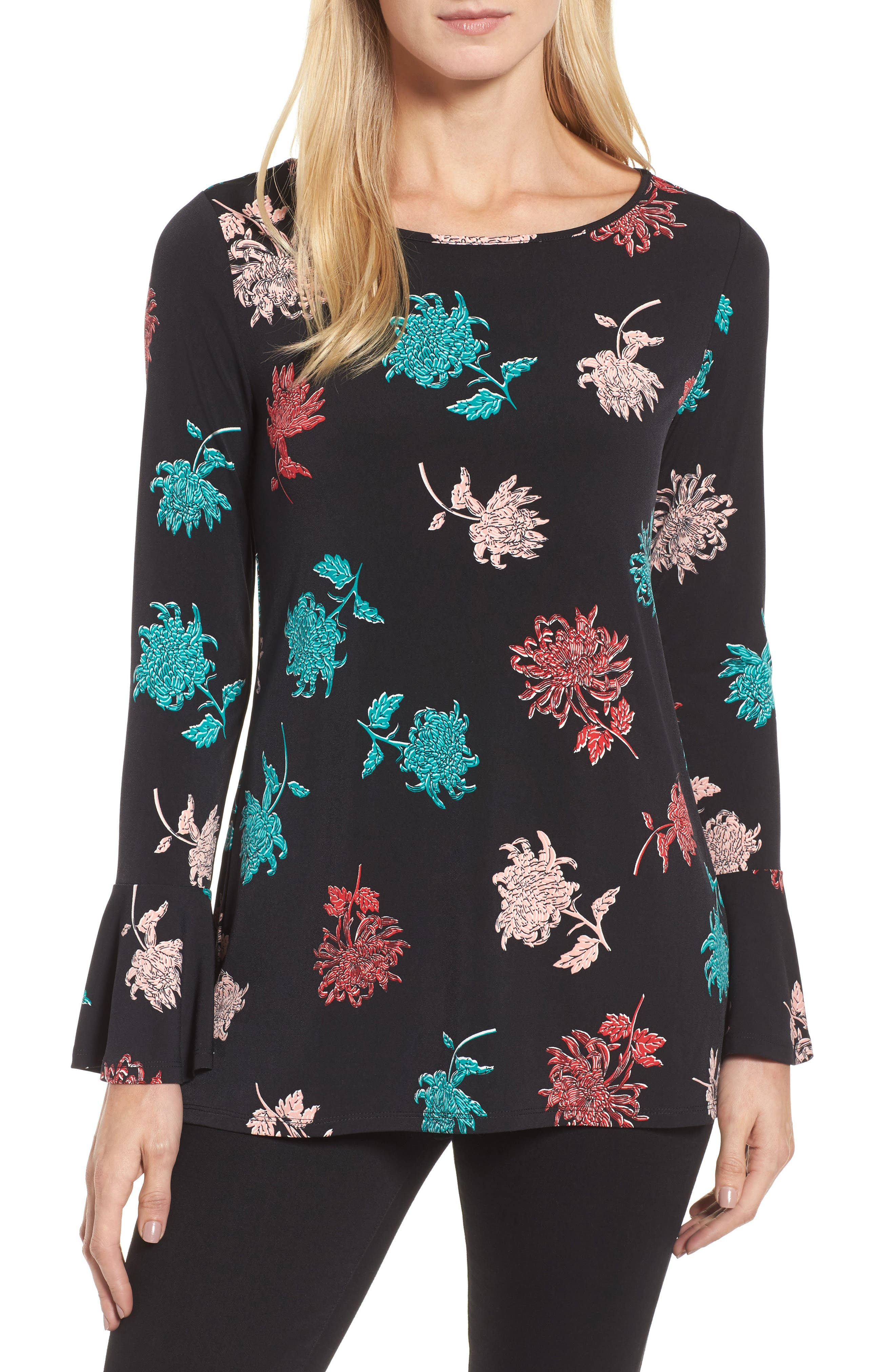 Bell Sleeve Imperial Bloom Top,                             Main thumbnail 1, color,                             Rich Black
