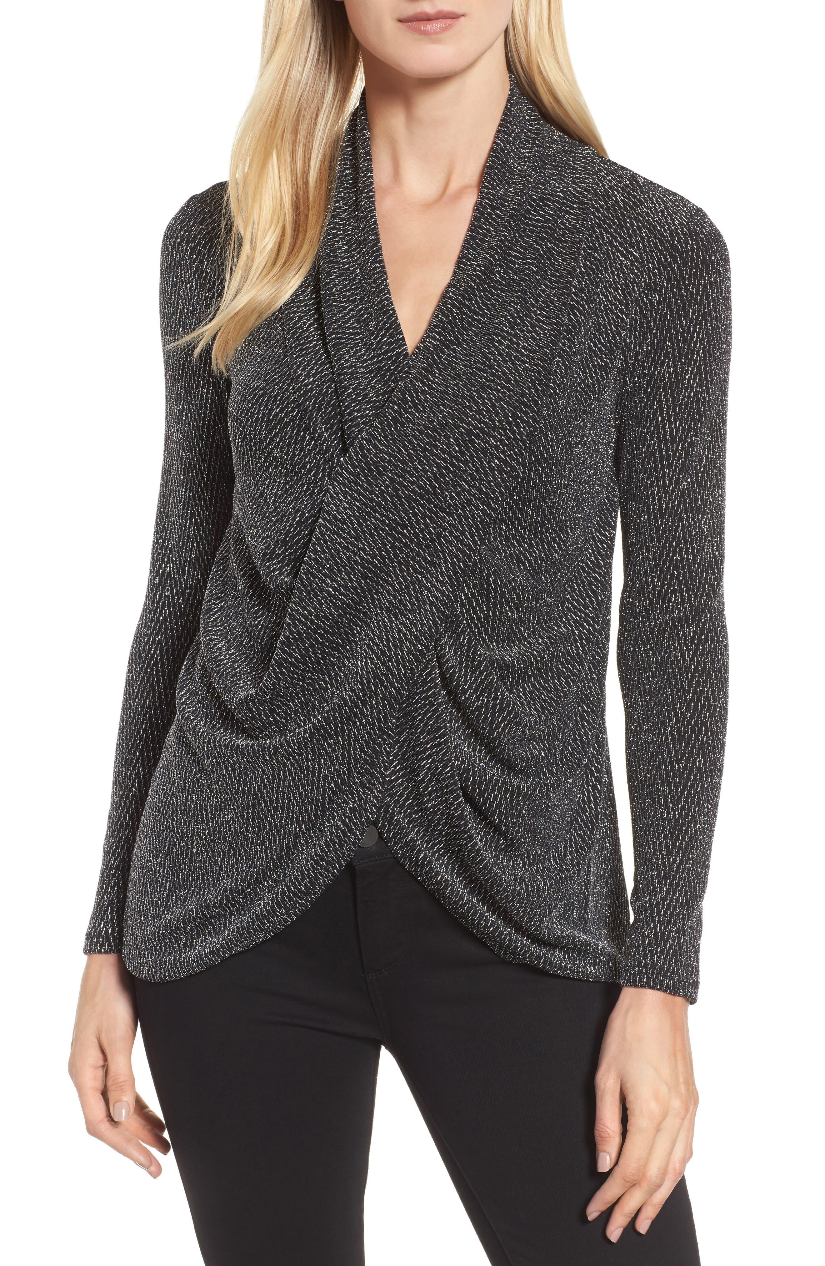 Main Image - Chaus Long Drape Front Sparkle Knit Top