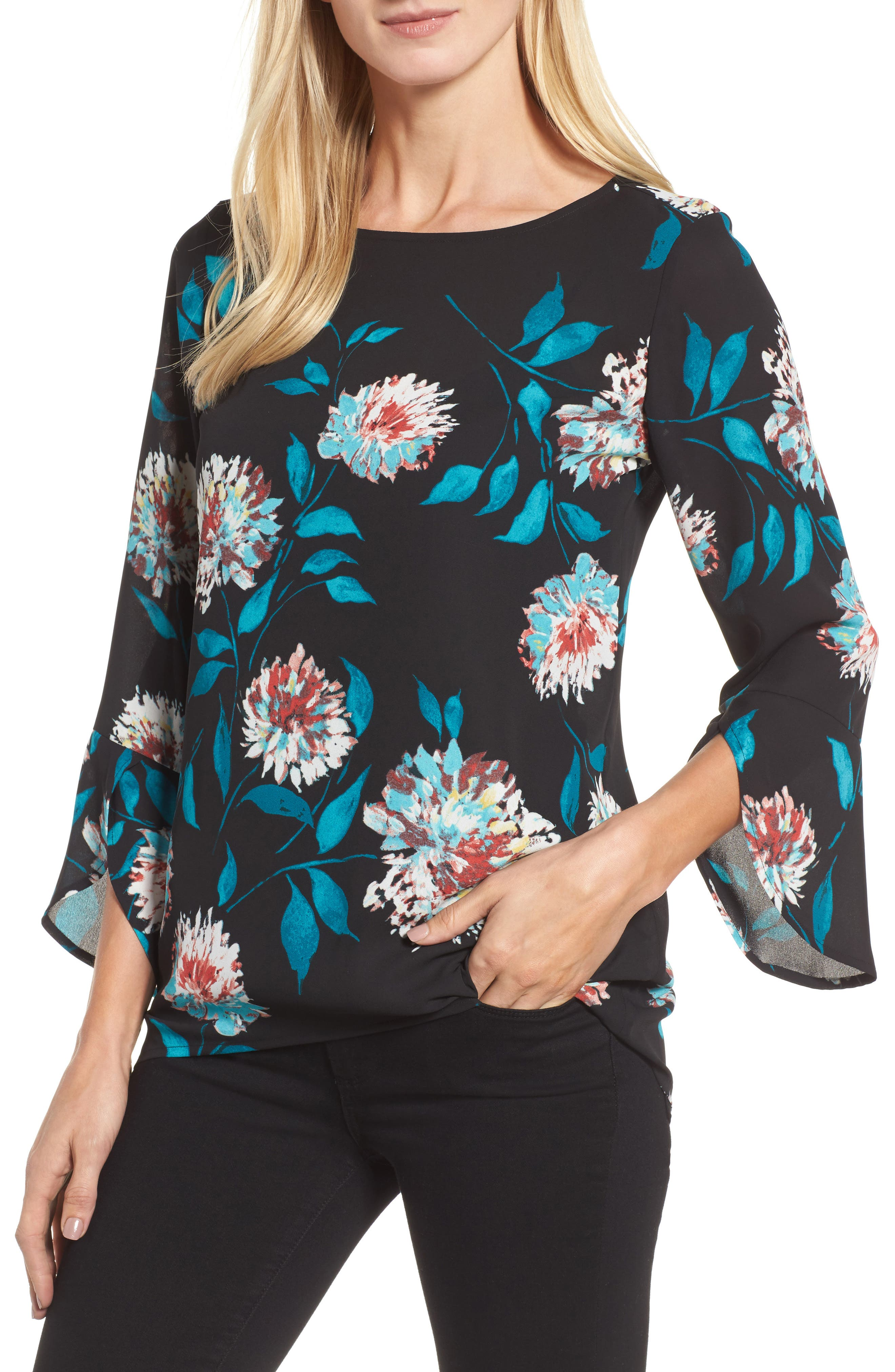 Kyoto Blossoms Bell Sleeve Blouse,                         Main,                         color, Rich Black
