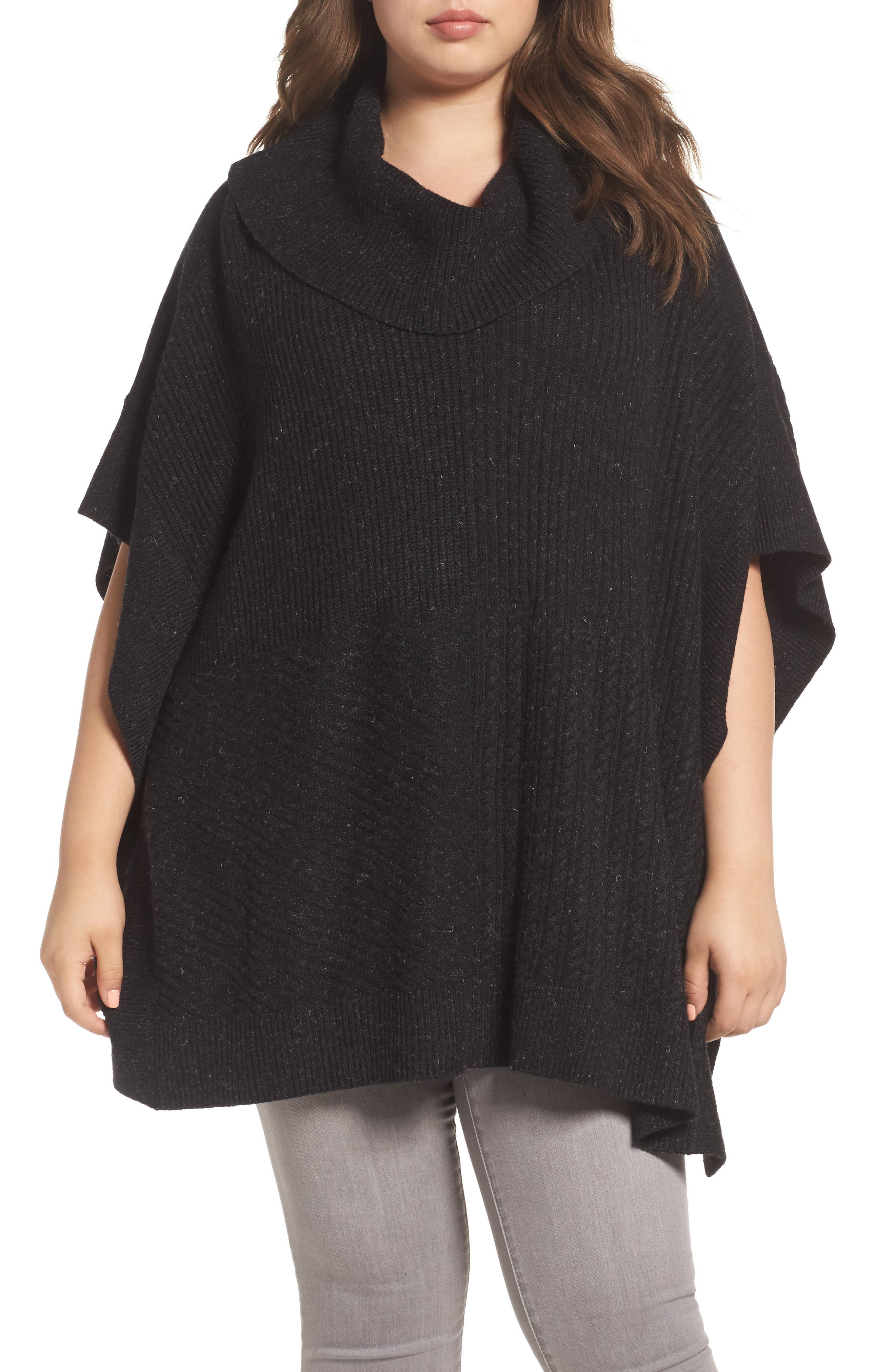 Mixed Stitch Poncho Sweater,                         Main,                         color, Black