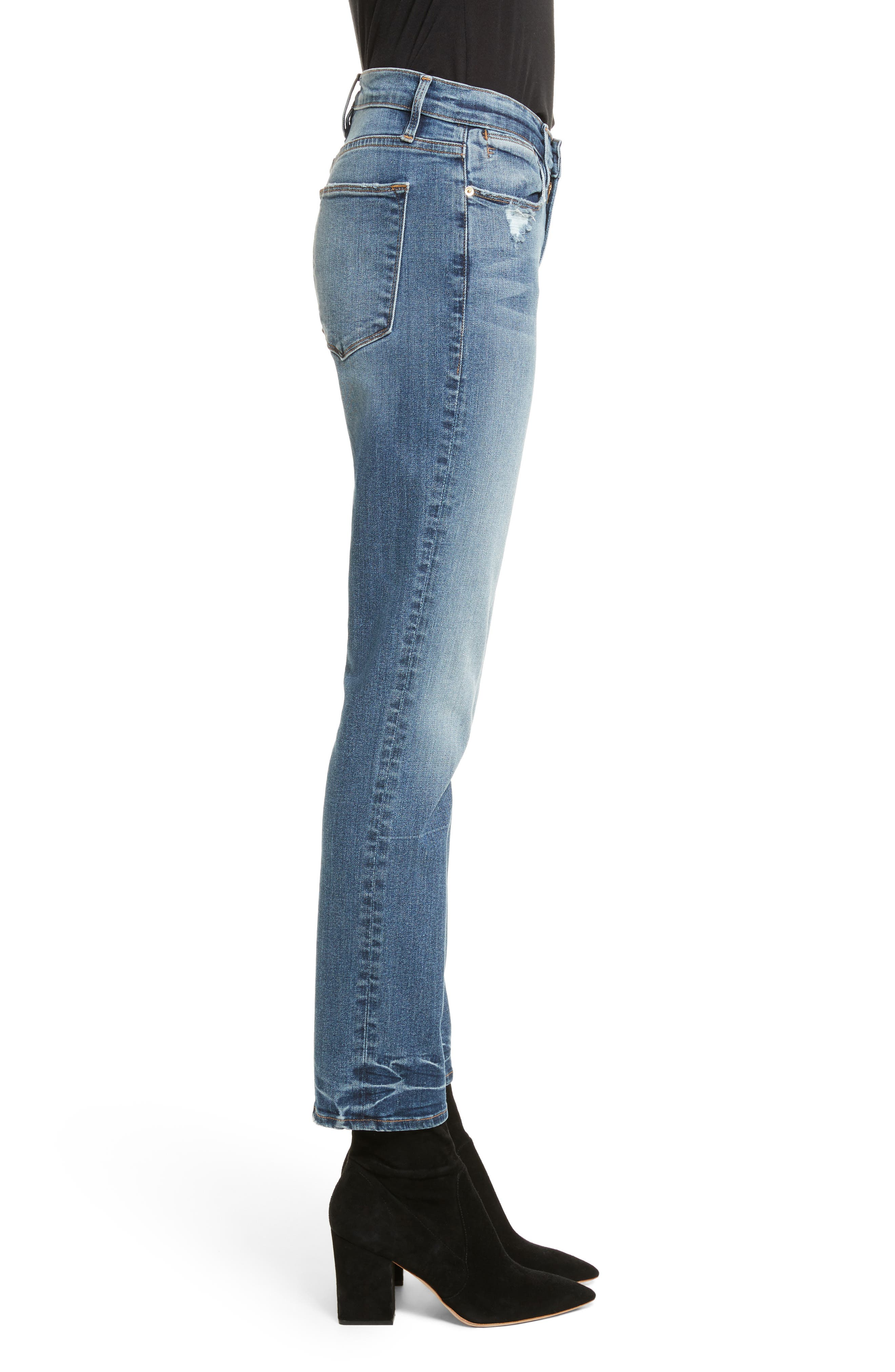 Le High Straight High Waist Crop Jeans,                             Alternate thumbnail 4, color,                             Whitwell