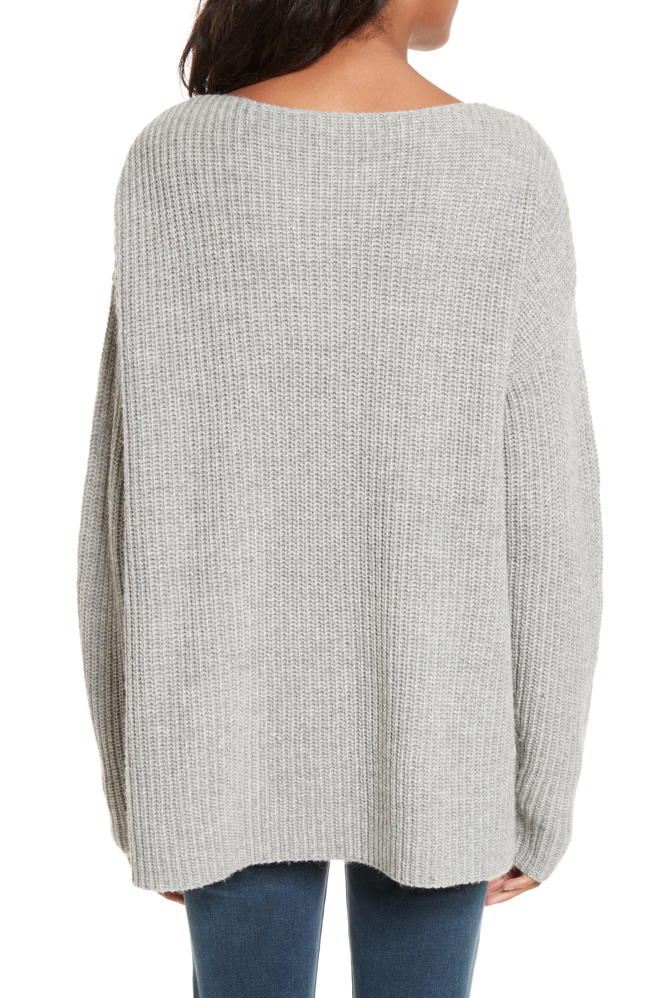 Oversize V-Neck Sweater,                             Alternate thumbnail 3, color,                             Gris