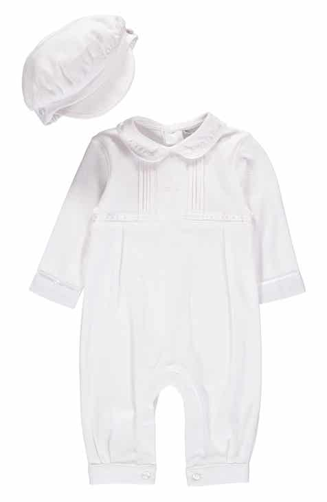 3e71ce6f5699 Carriage Boutique Cross Embroidered Christening Romper   Newsboy Cap Set ( Baby Boys)