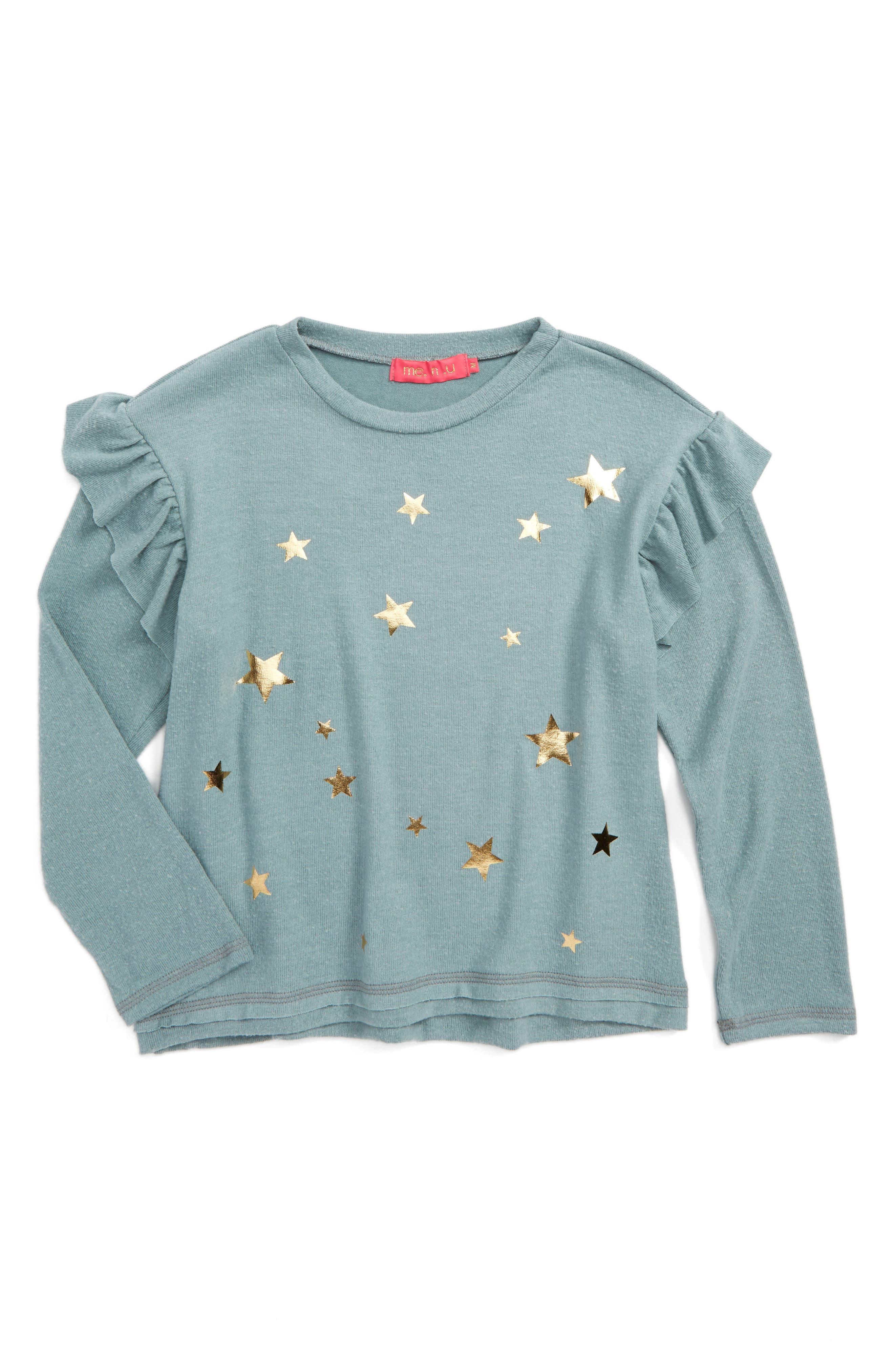 Alternate Image 1 Selected - me.n.u Star Print Ruffle Sweatshirt (Big Girls)