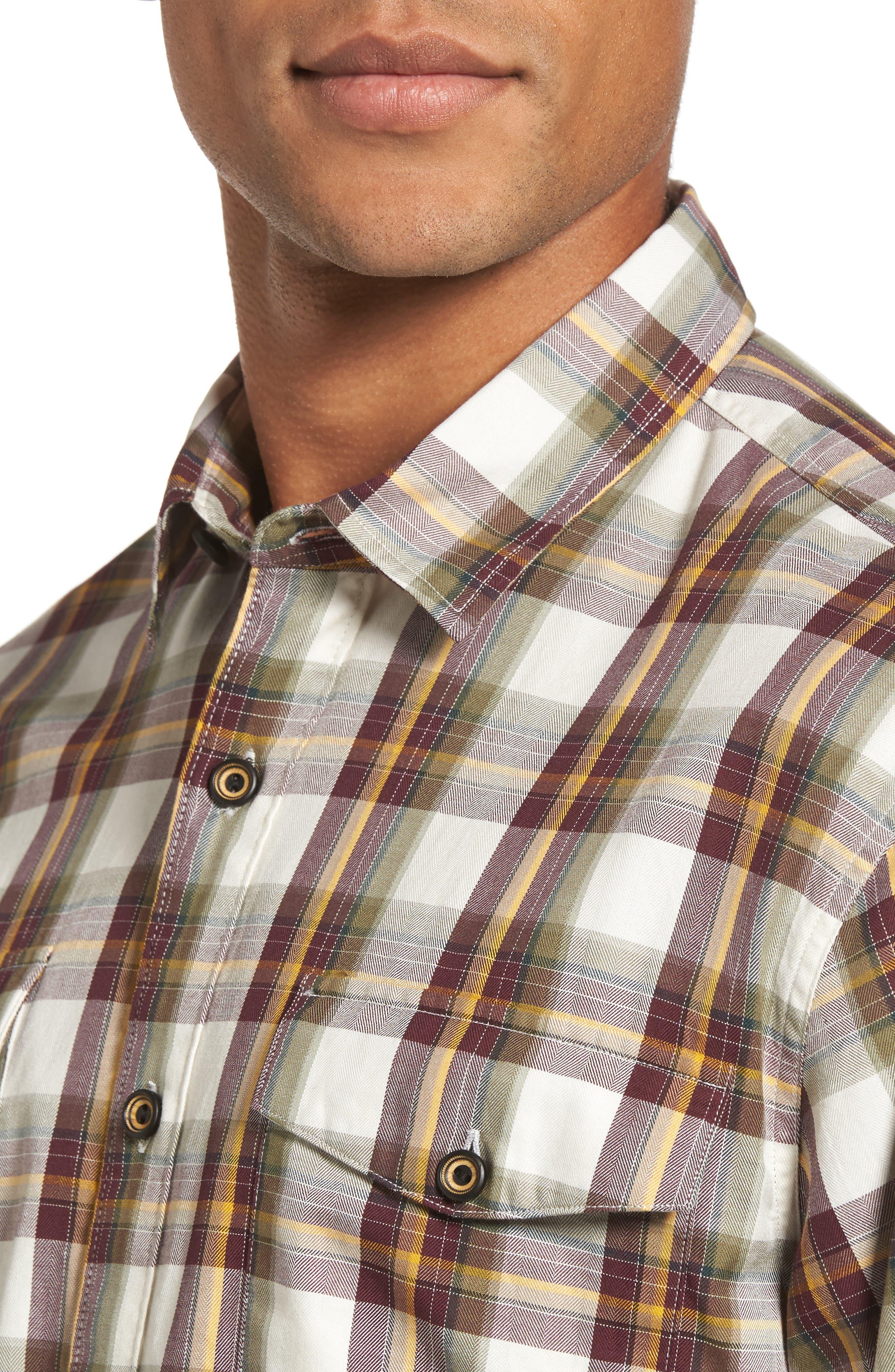 Seacliff Plaid Flannel Shirt,                             Alternate thumbnail 4, color,                             Merlot