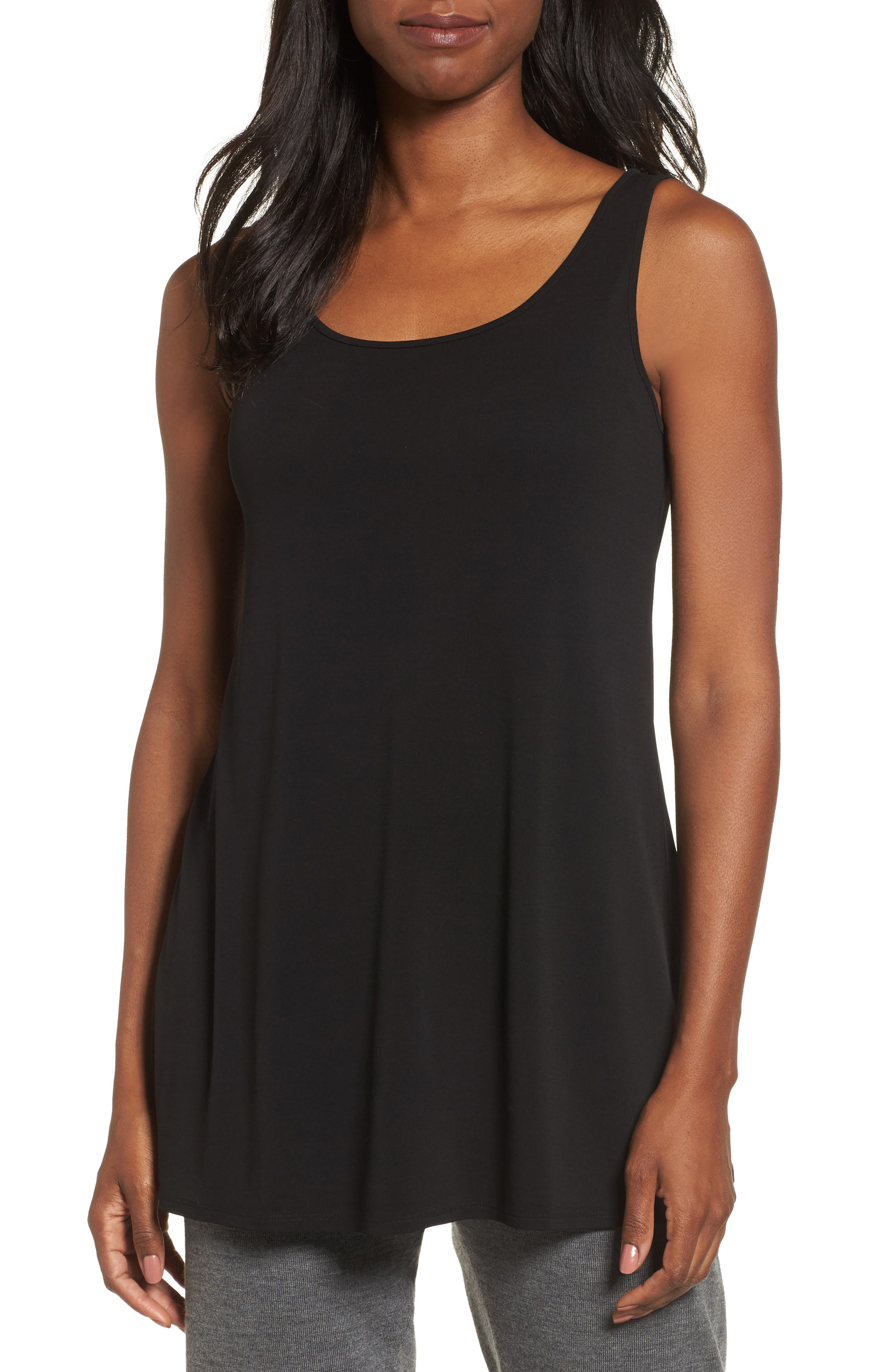 Scoop Neck Silk Tunic,                         Main,                         color, Black
