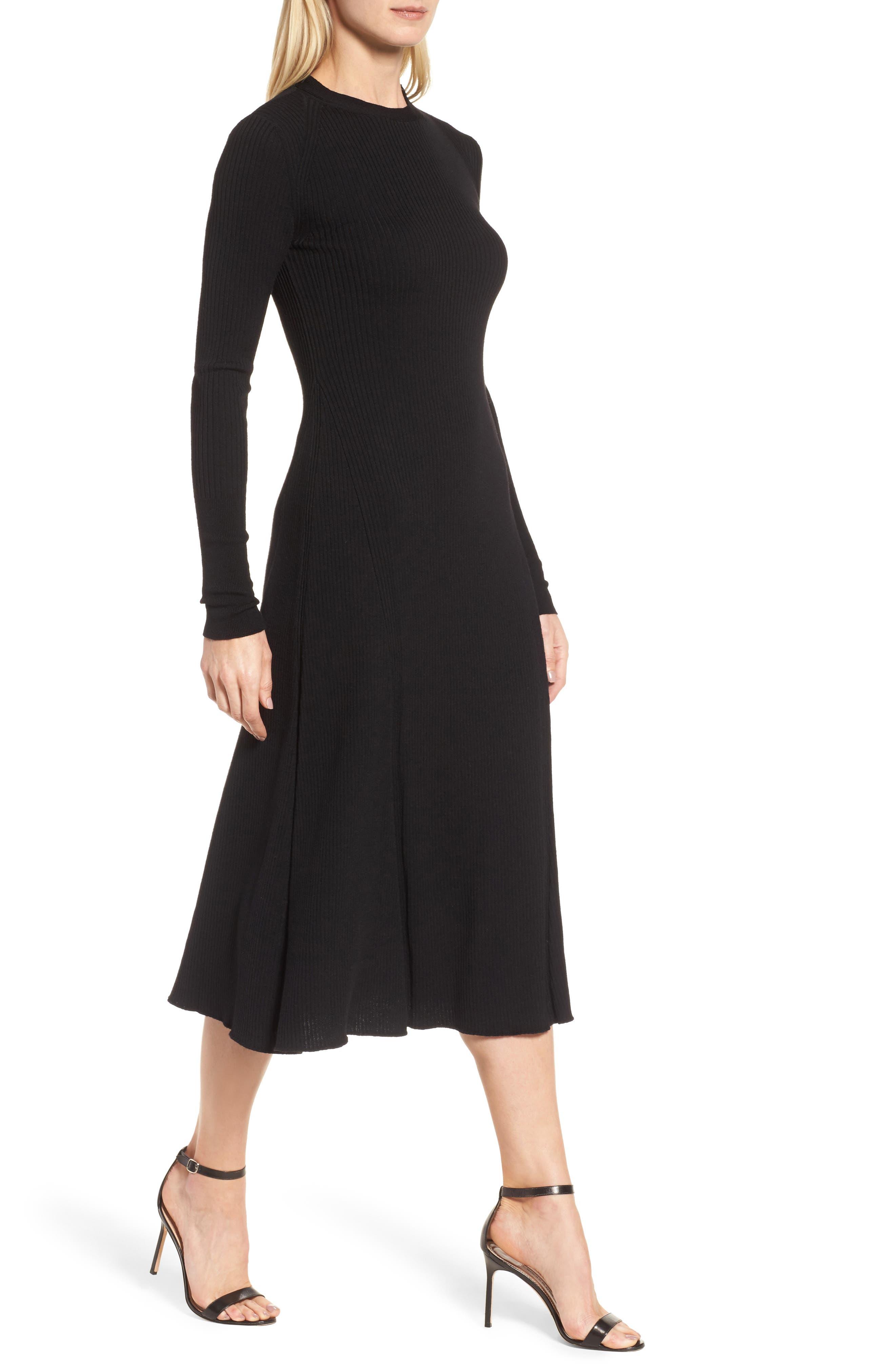 Faustine Midi Dress,                             Alternate thumbnail 4, color,                             Black