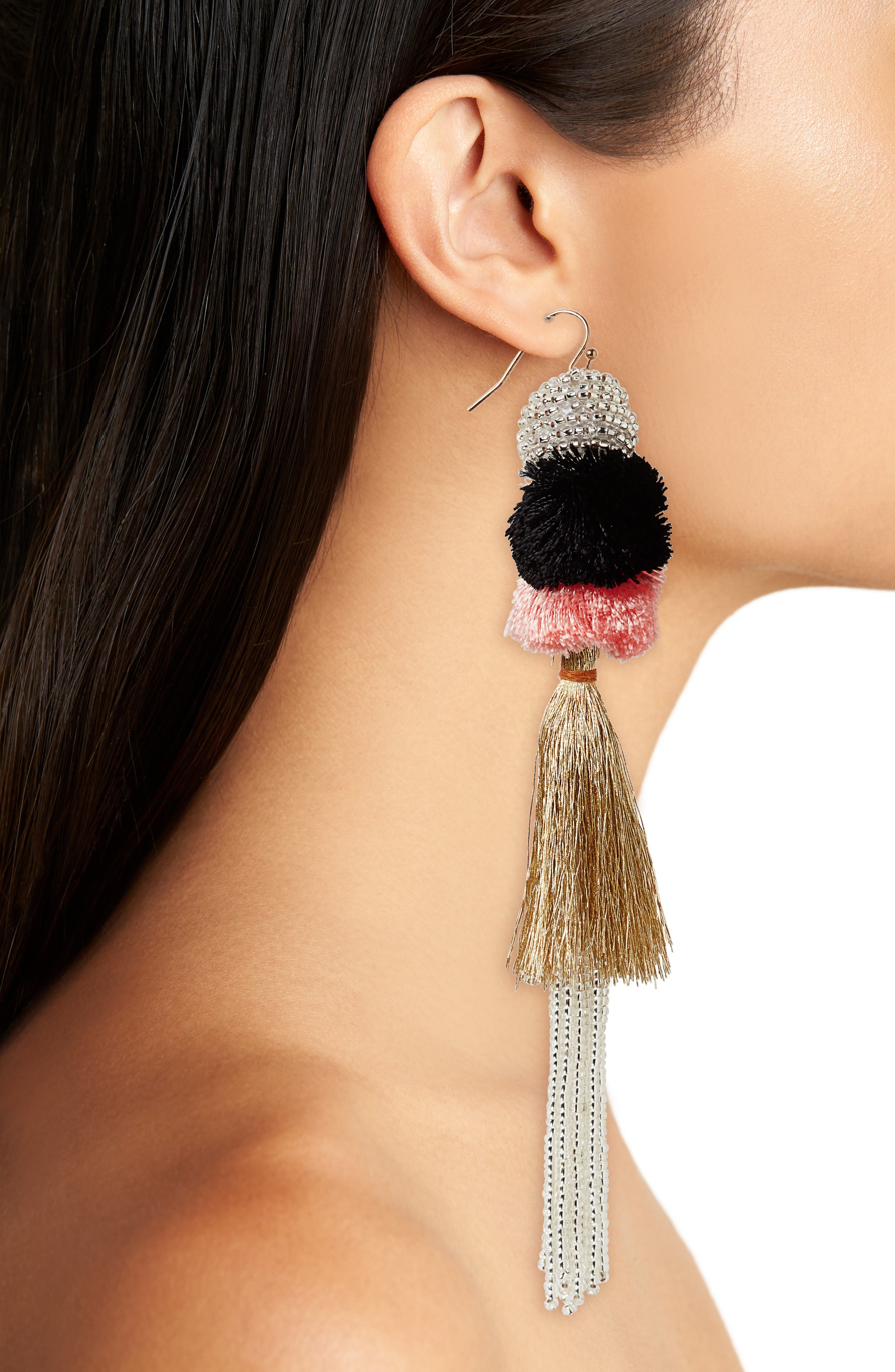 Tiered Tassel Earrings,                             Alternate thumbnail 2, color,                             Cameo/ Gold