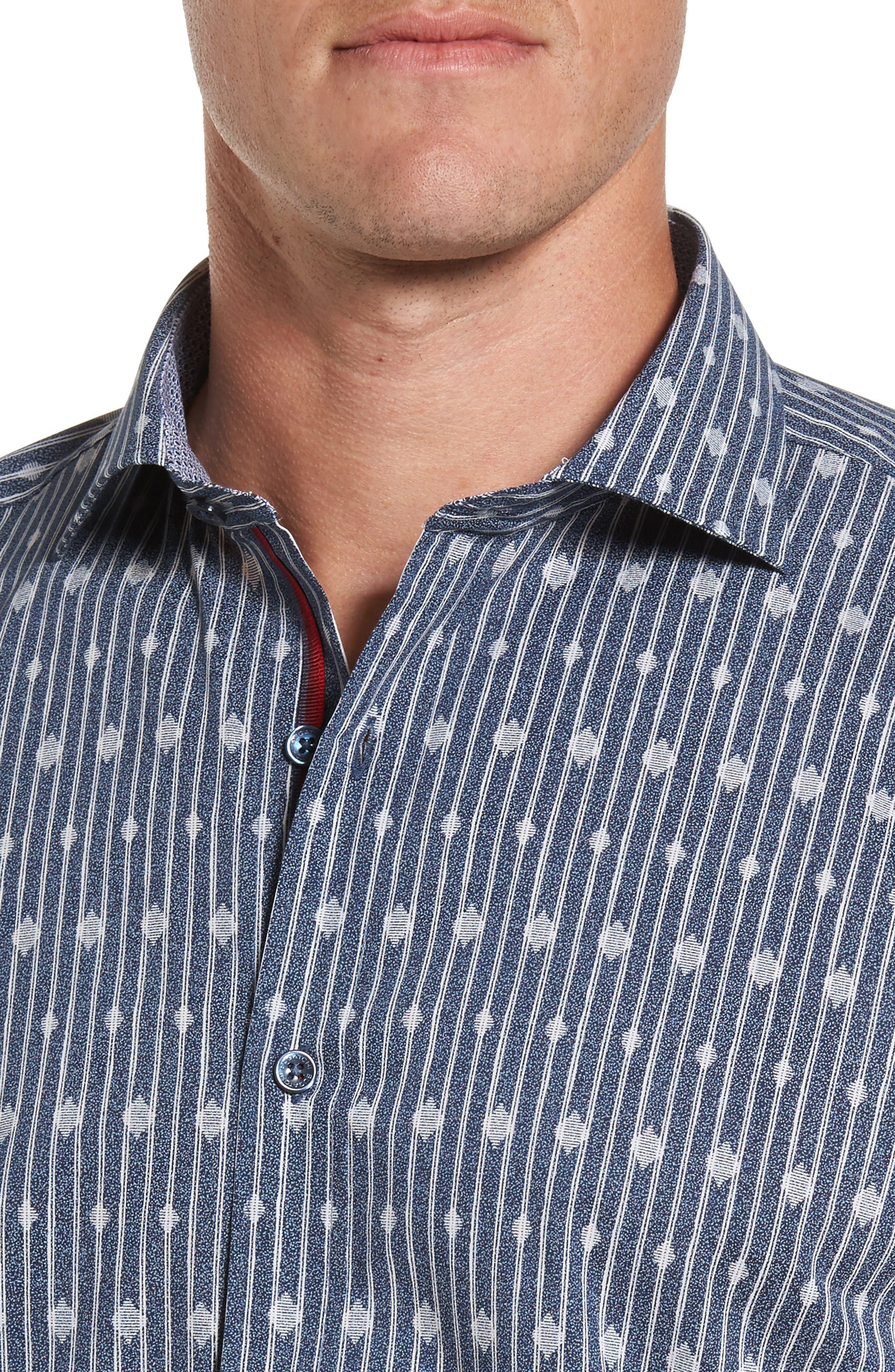 Alternate Image 4  - Bugatchi Shaped Fit Diamond Stripe Print Sport Shirt