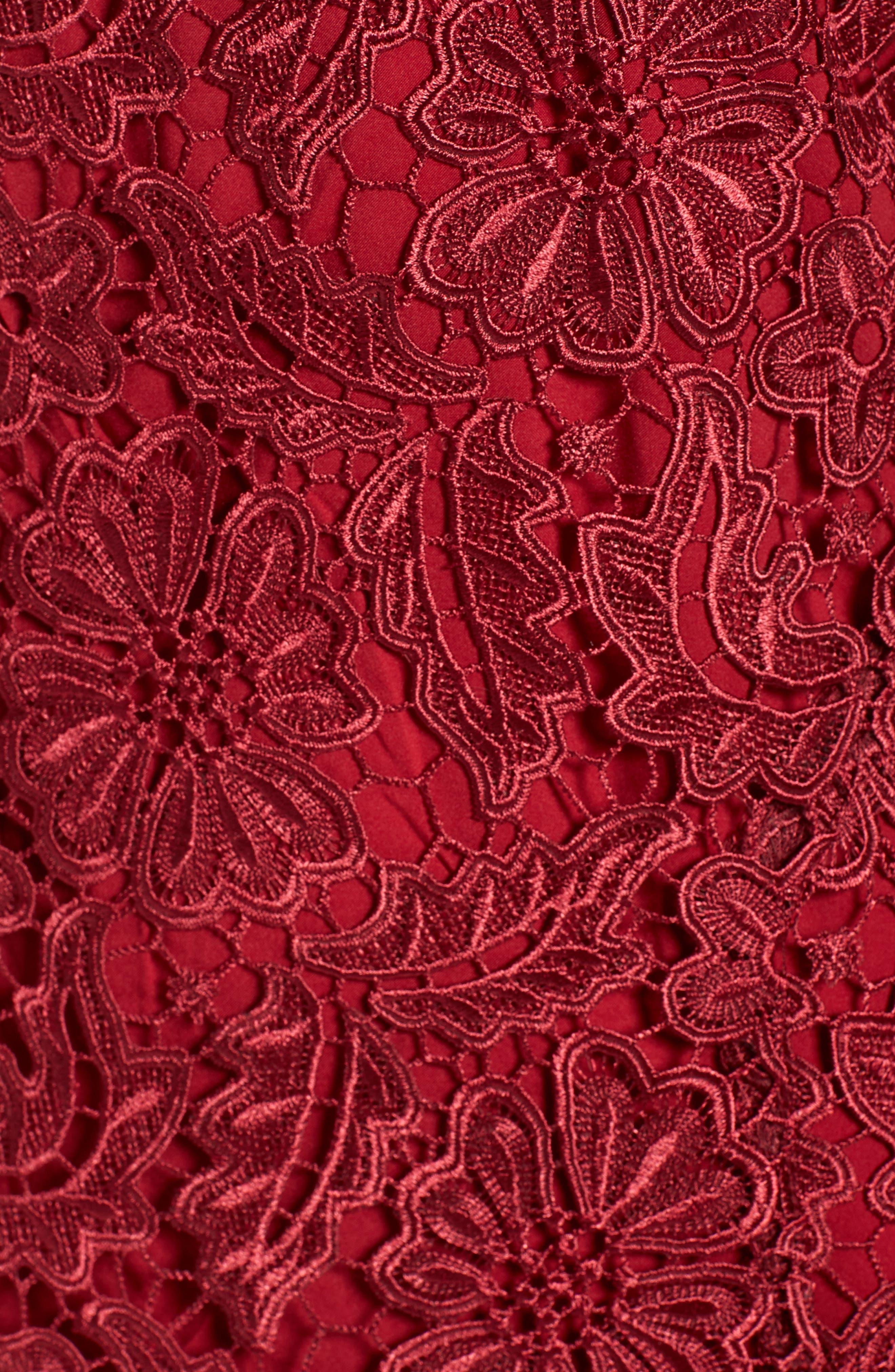 Park Lace Midi Dress,                             Alternate thumbnail 5, color,                             Cranberry