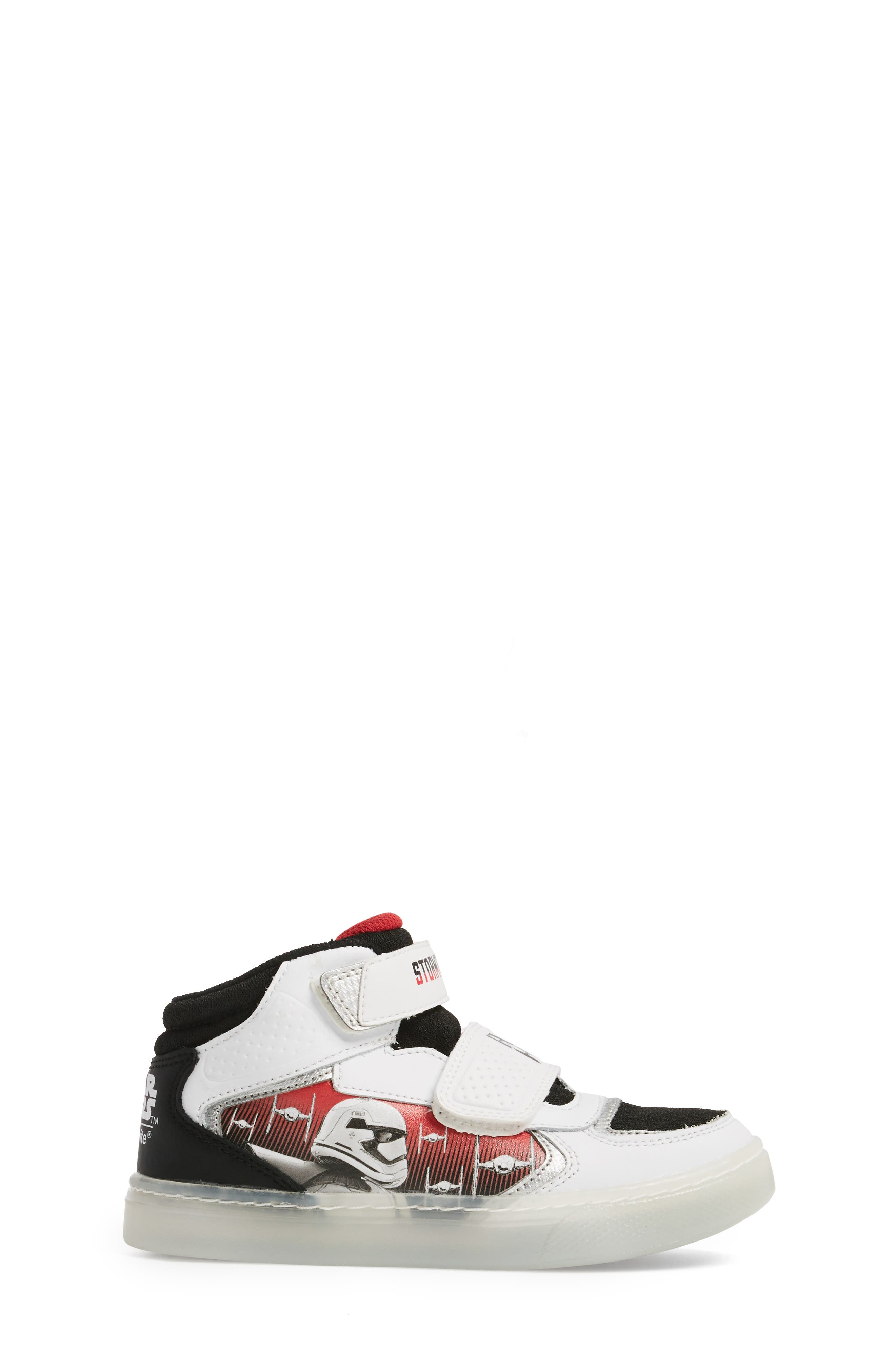 Star Wars<sup>®</sup> Stormtropper Galaxy Light-Up Sneaker,                             Alternate thumbnail 3, color,                             White/ Black