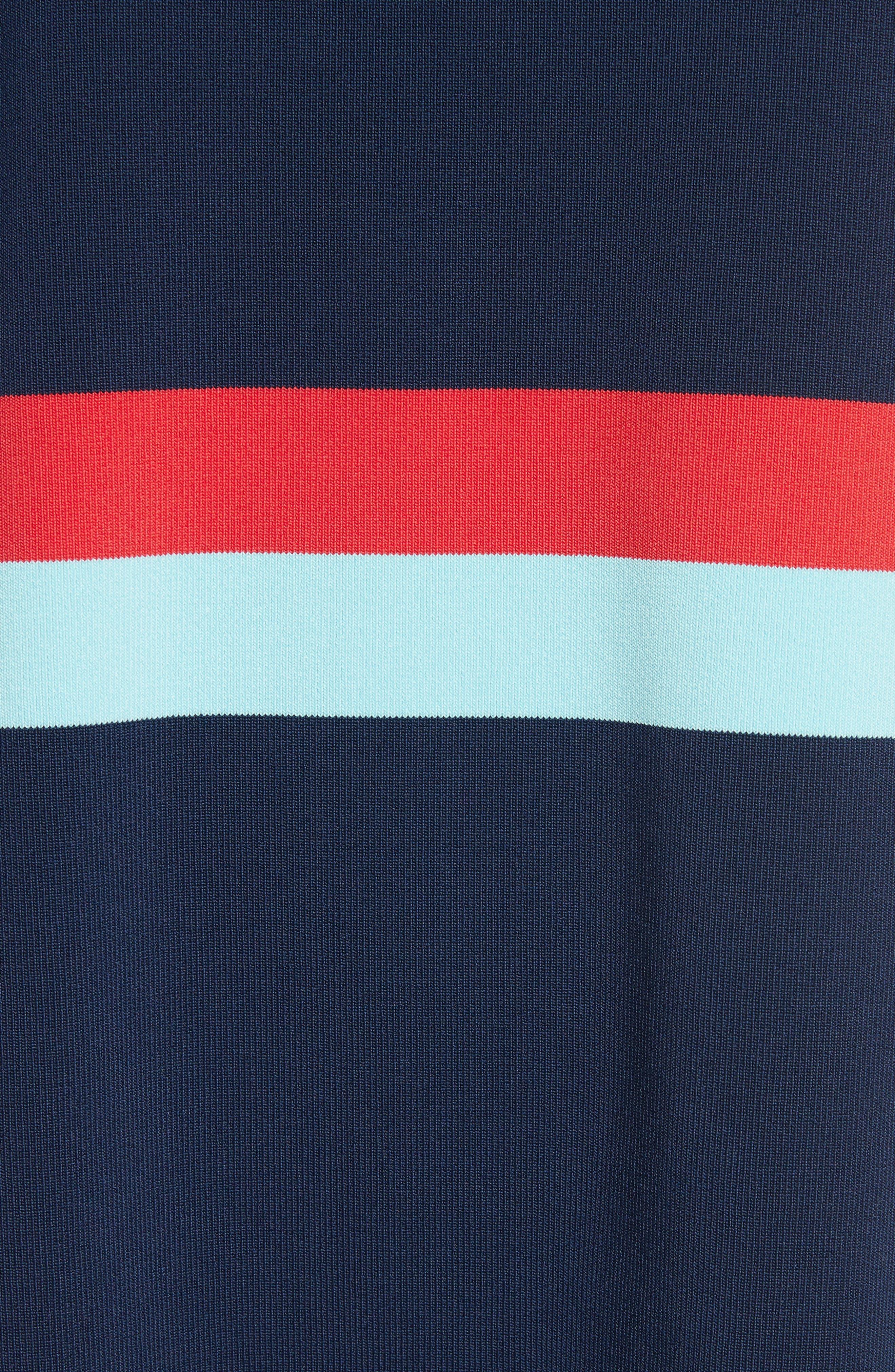 Origami Stripe Knit Dress,                             Alternate thumbnail 5, color,                             Dark Blue