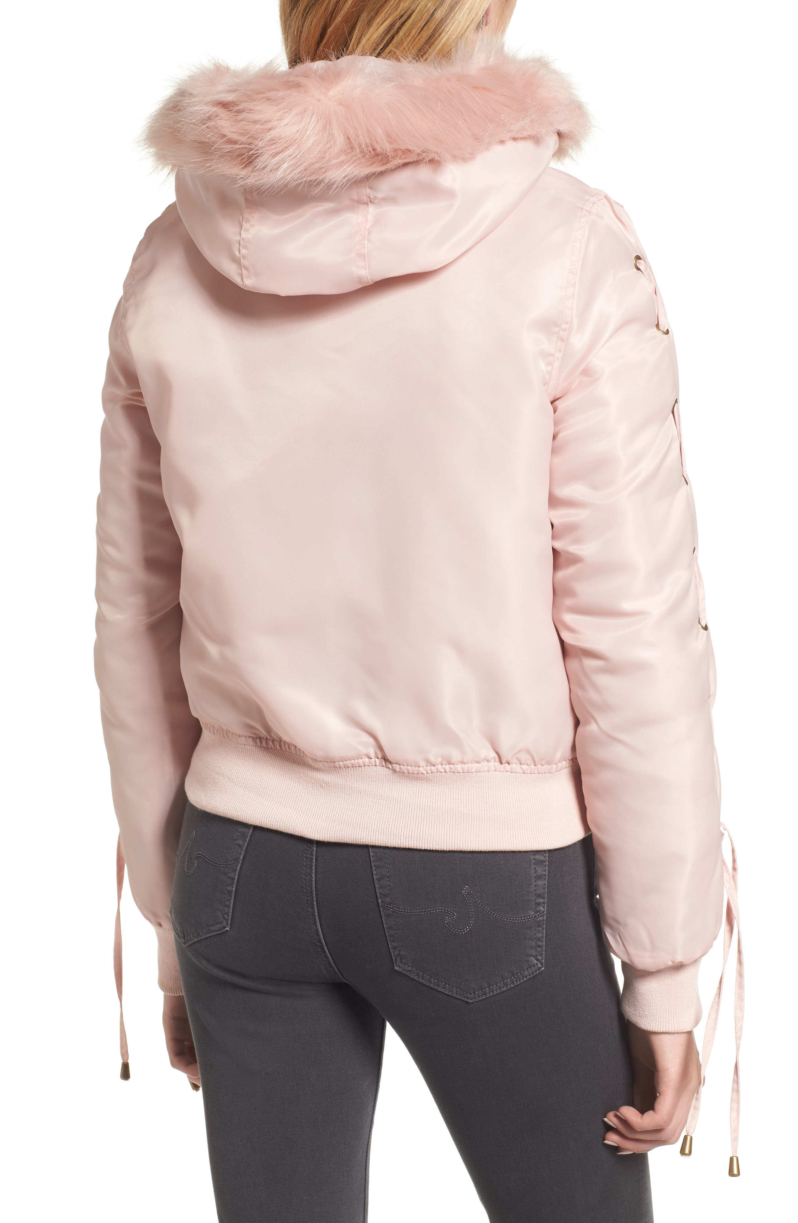 Lace-Up Sleeve Quilted Bomber Jacket,                             Alternate thumbnail 2, color,                             Blush