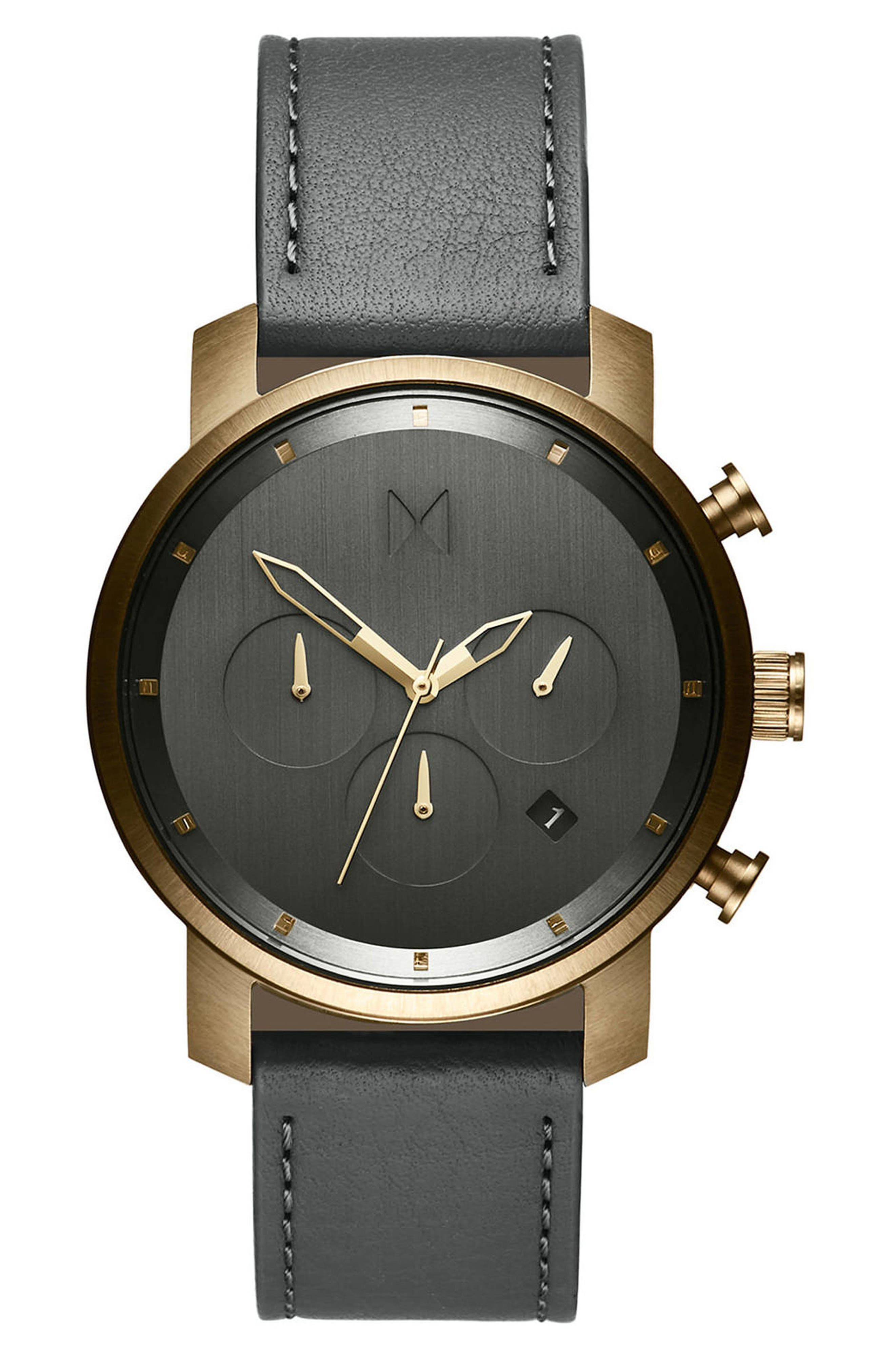 The Chrono Chronograph Leather Strap Watch, 40mm,                         Main,                         color, All Black/ Rose Gold