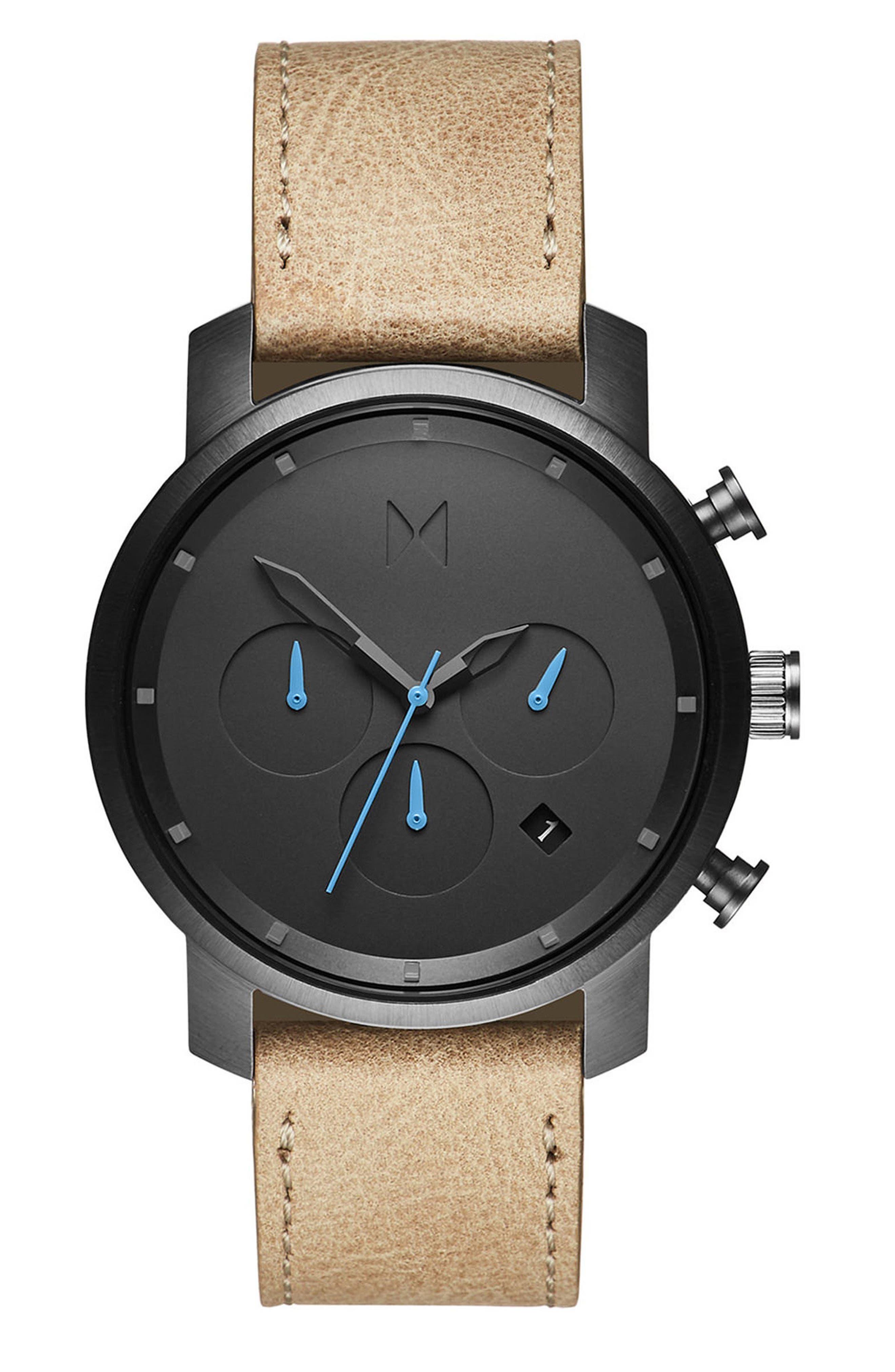 Chrono Chronograph Leather Strap Watch, 40mm,                         Main,                         color, Sandstone/ Gunmetal