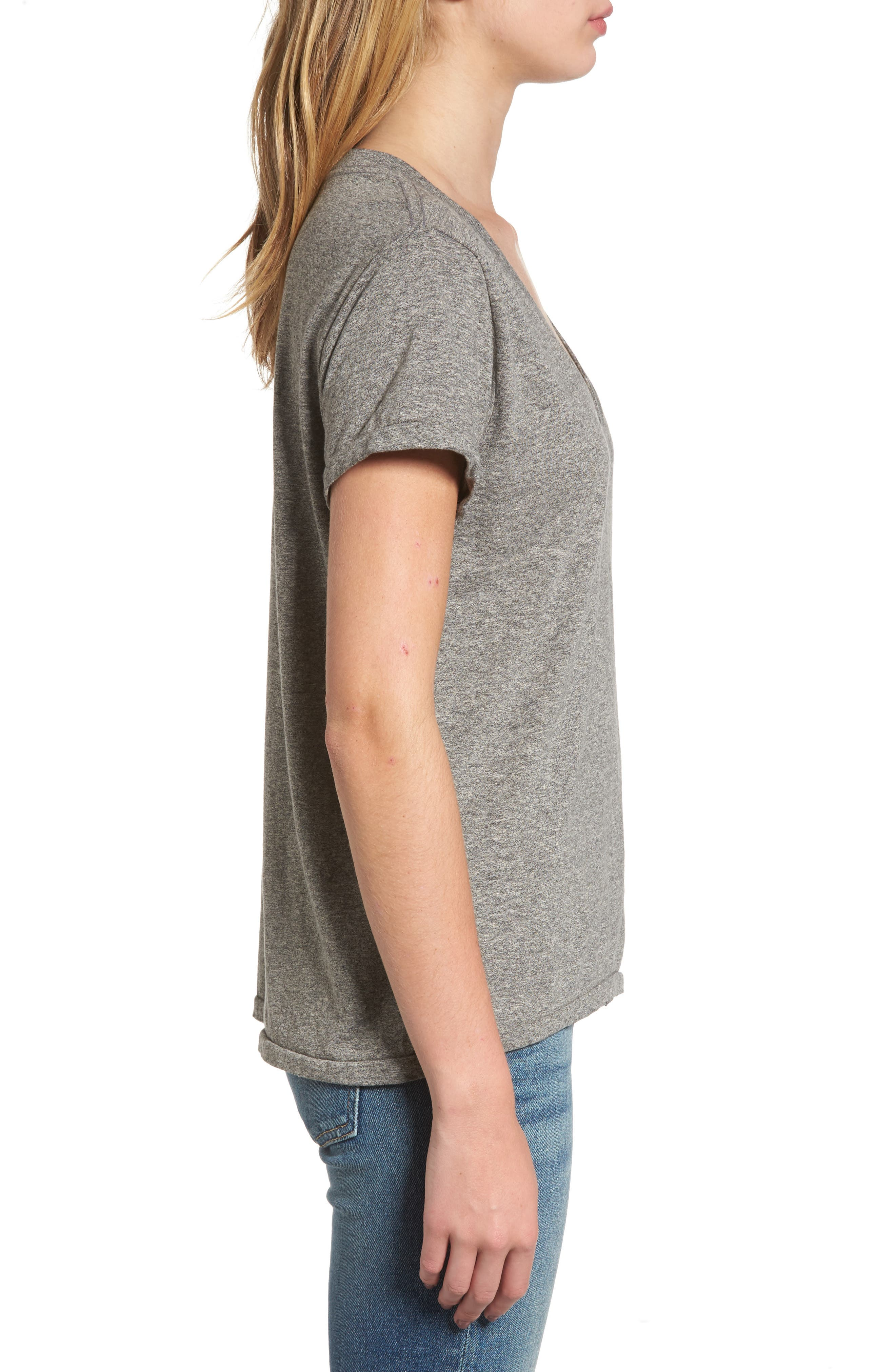 'The V-Neck' Tee,                             Alternate thumbnail 3, color,                             Heather Grey