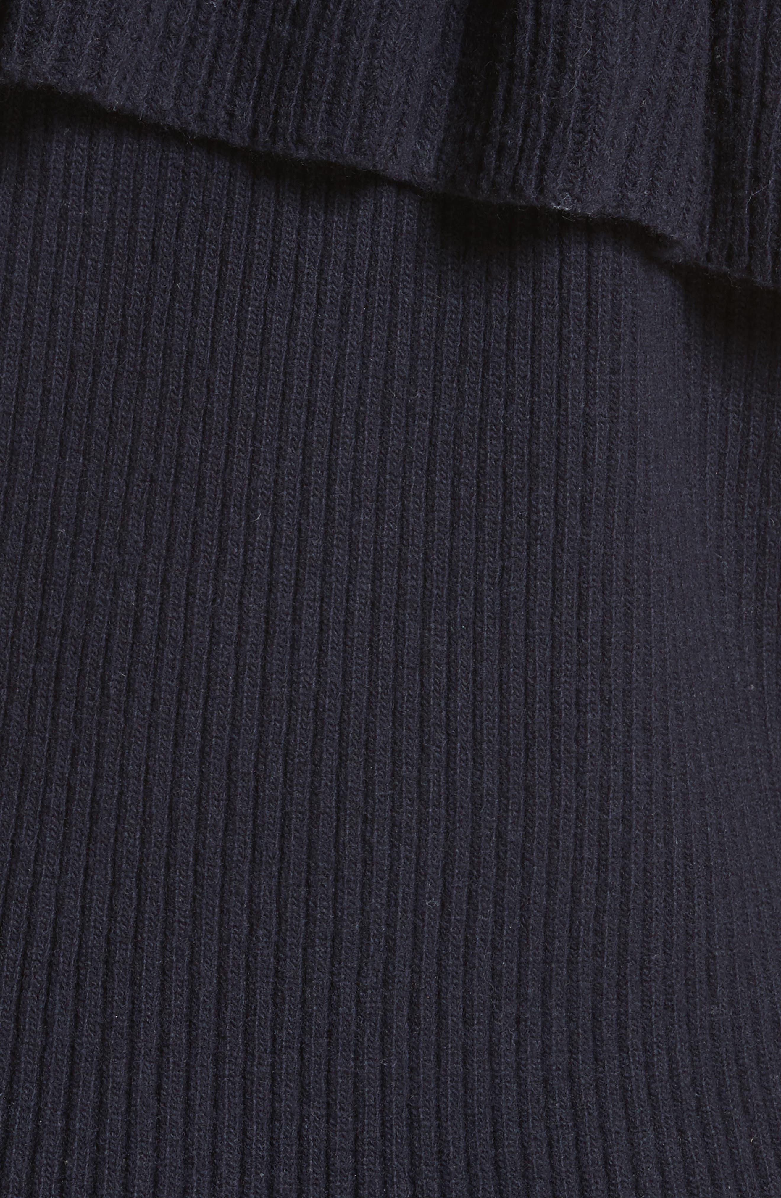 Asymmetrical Frill Illusion Sweater,                             Alternate thumbnail 5, color,                             Blue