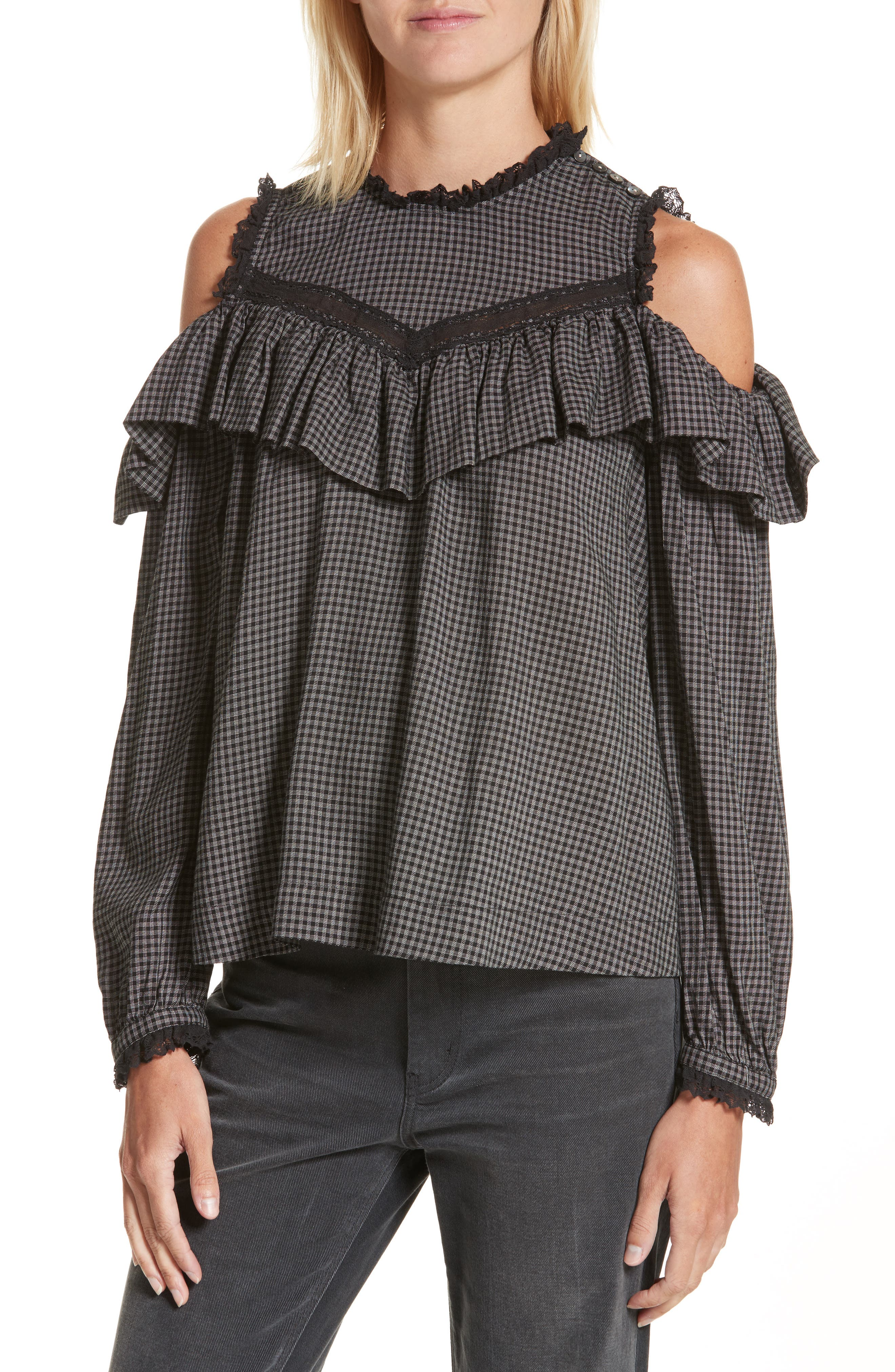 Main Image - La Vie Rebecca Taylor Plaid Ruffle Cold Shoulder Top