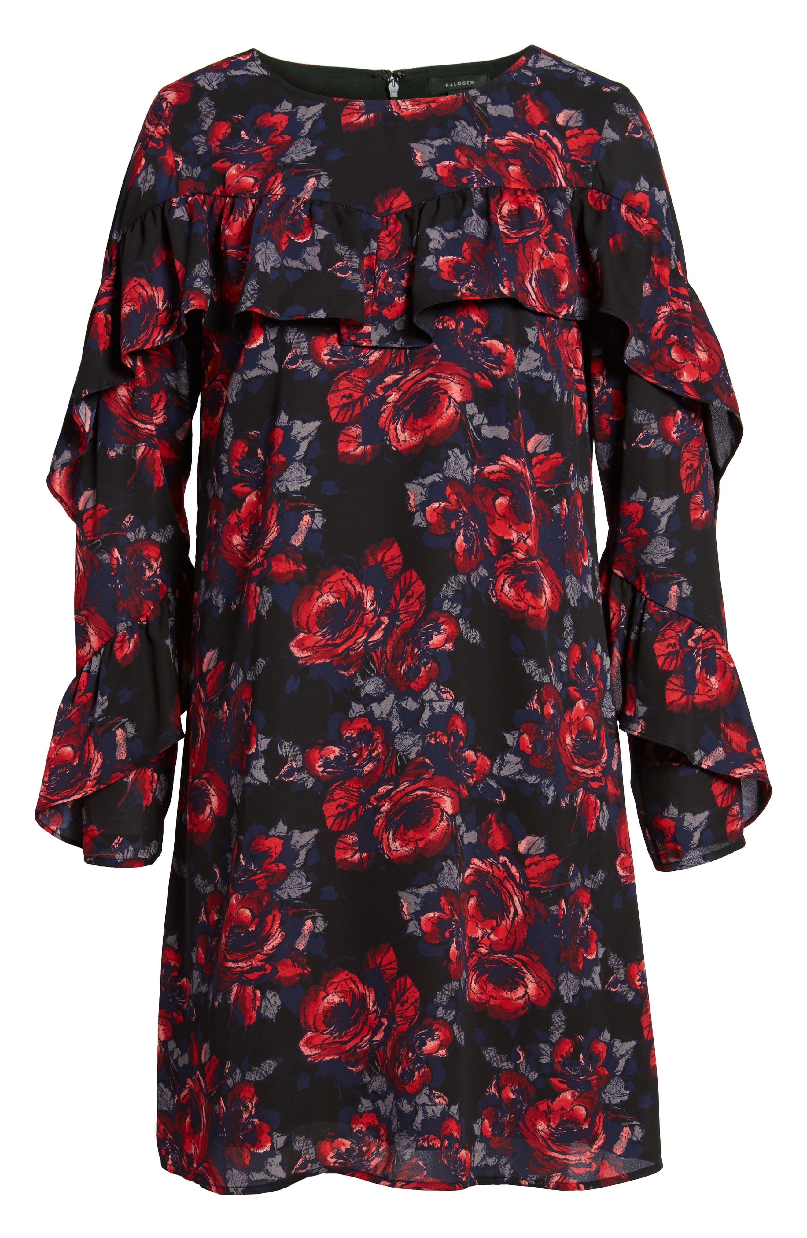 Alternate Image 6  - Halogen® Ruffle Shift Dress (Regular & Petite)