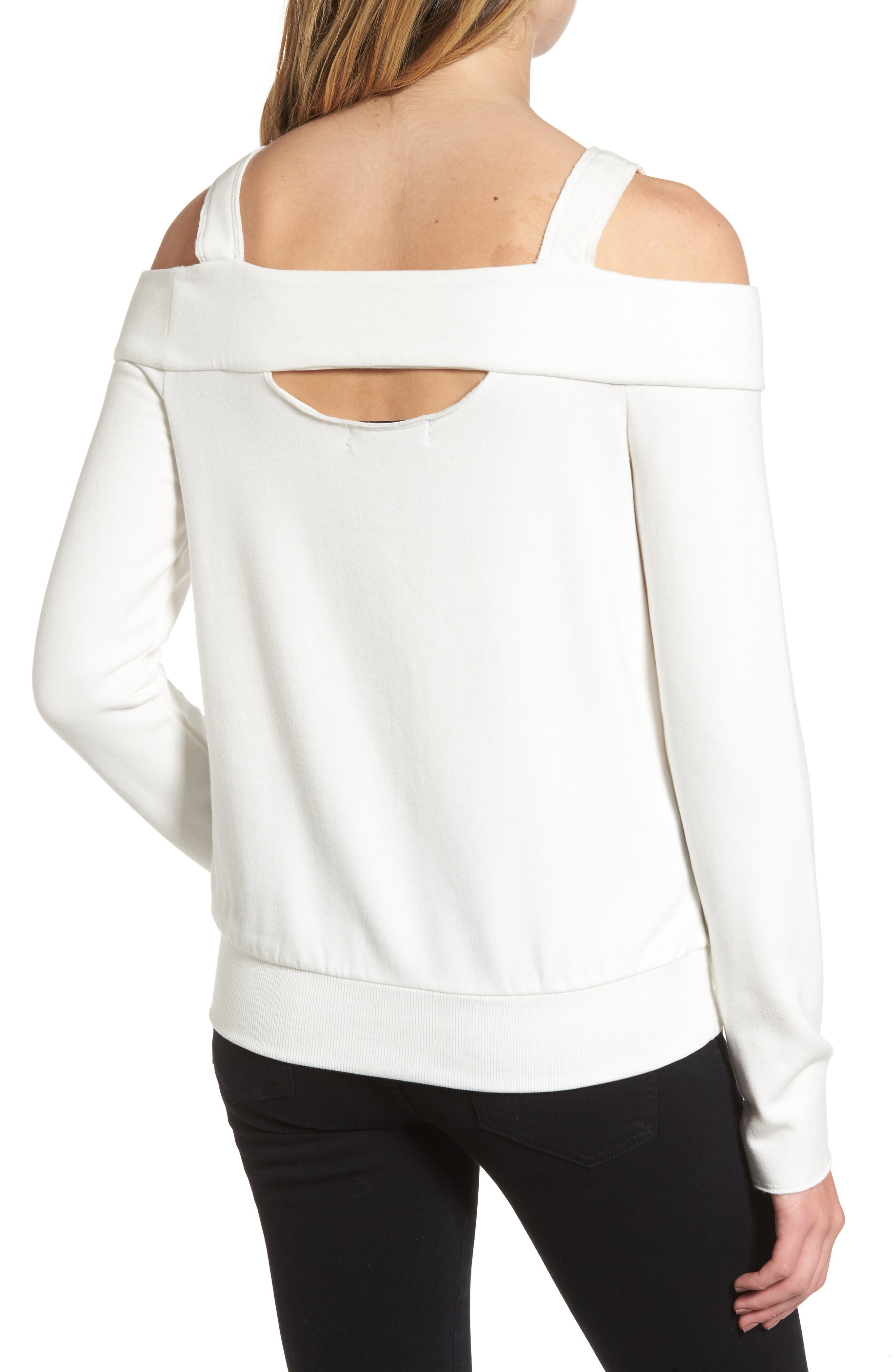 Ground Swell Cold Shoulder Sweatshirt,                             Alternate thumbnail 2, color,                             Cream